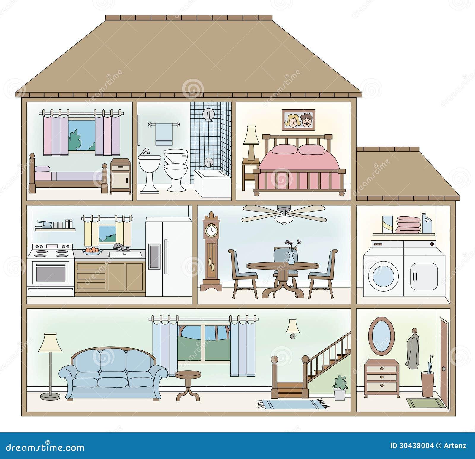 De dwarsdoorsnede van het huis vector illustratie afbeelding 30438004 - Het huis van de cabriolet ...