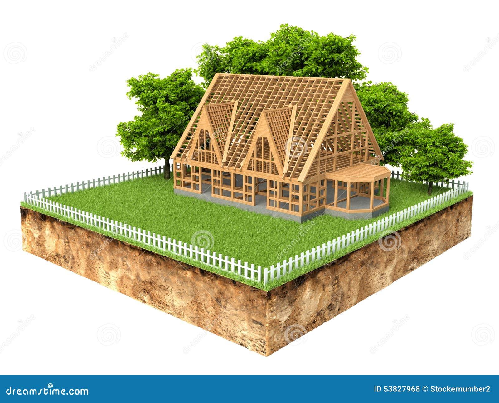 Een Nieuw Huis : Dwarsdoorsnede van grond met een nieuw huis in aanbouw stock