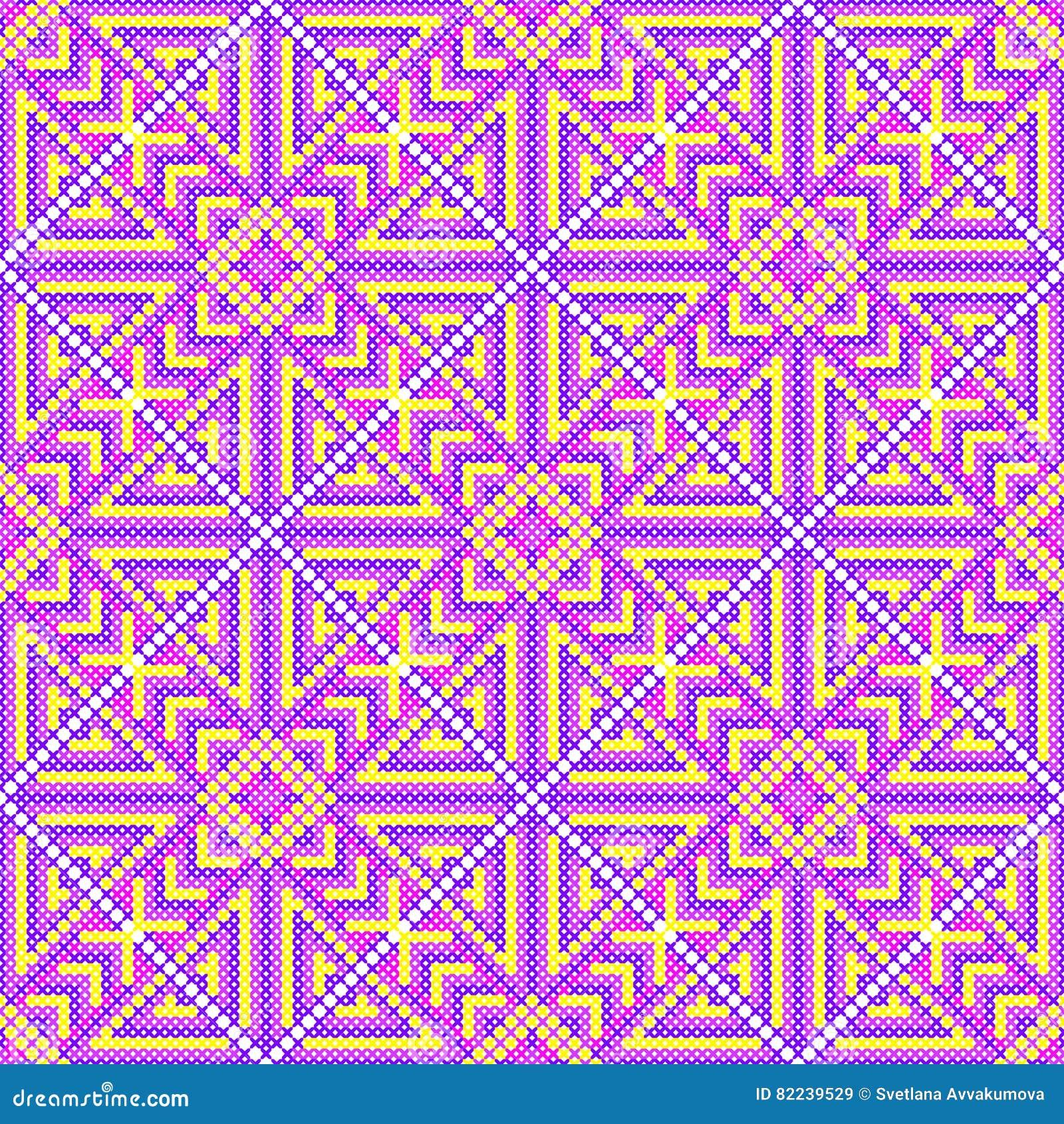 Dwarssteek Naadloos Patroon Borduurwerkachtergrond