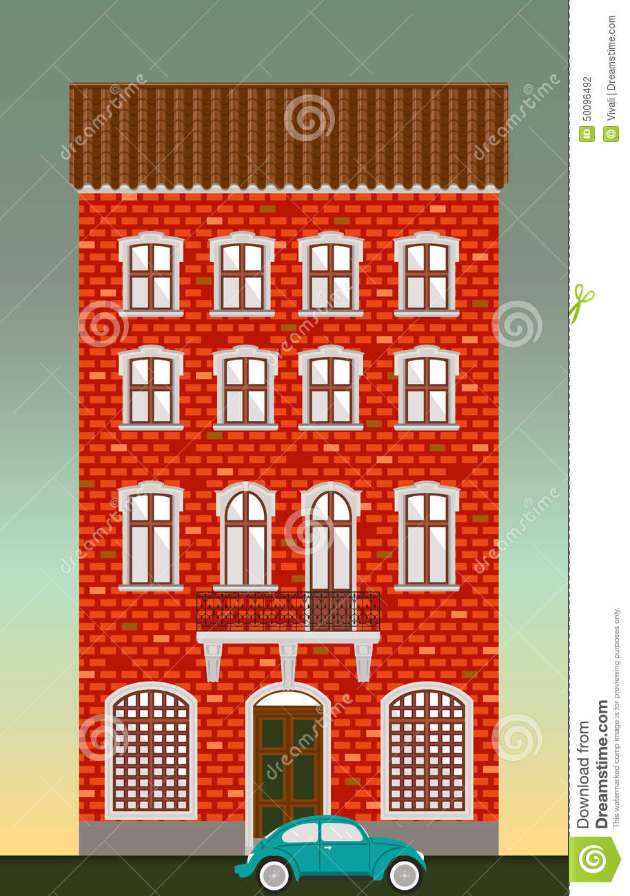 Dwelling House Classical Town Architecture Vector