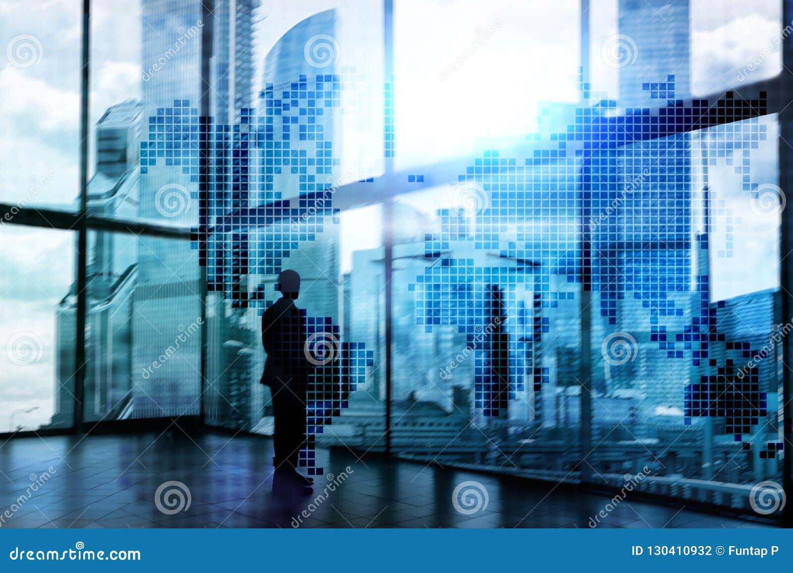 Dwoistego ujawnienia światowa mapa Globalnego biznesu i rynku finansowego pojęcie