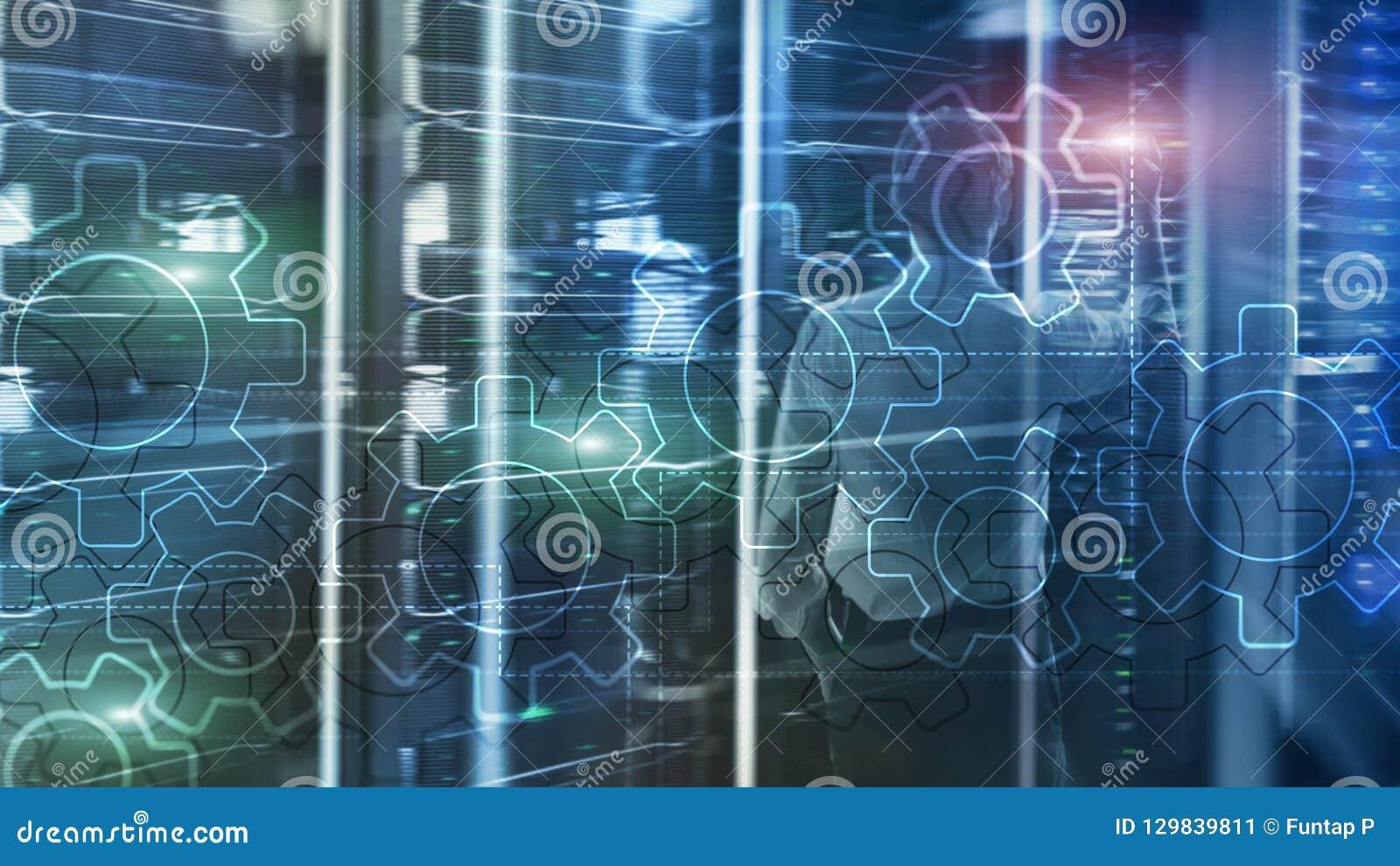 Dwoistego ujawnienia przekładni mechanizm na zamazanym tle Biznesowy i przemysłowy proces automatyzaci pojęcie