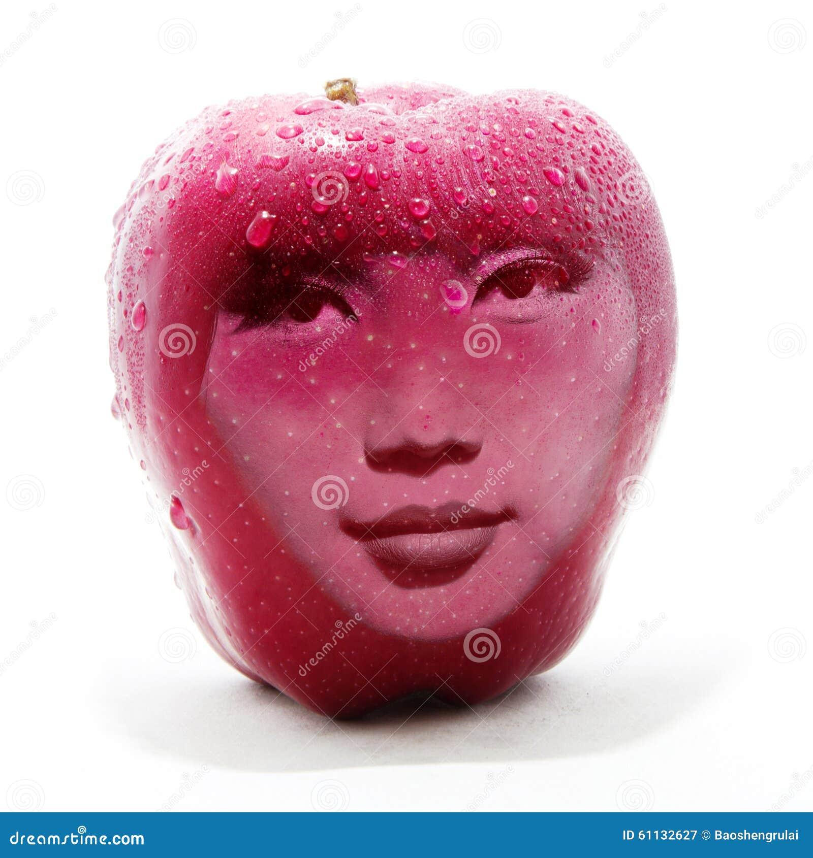 Dwoistego ujawnienia wizerunek czerwony jabłko