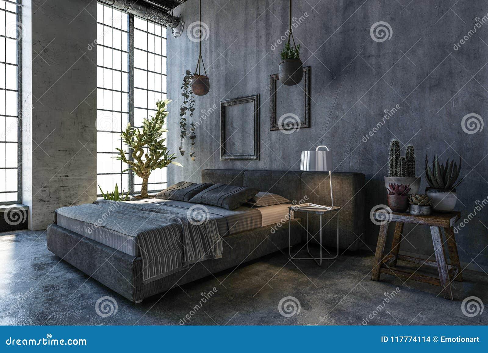 Dwoisty łóżko W Loft Stylu Sypialni Z Wielkim Okno