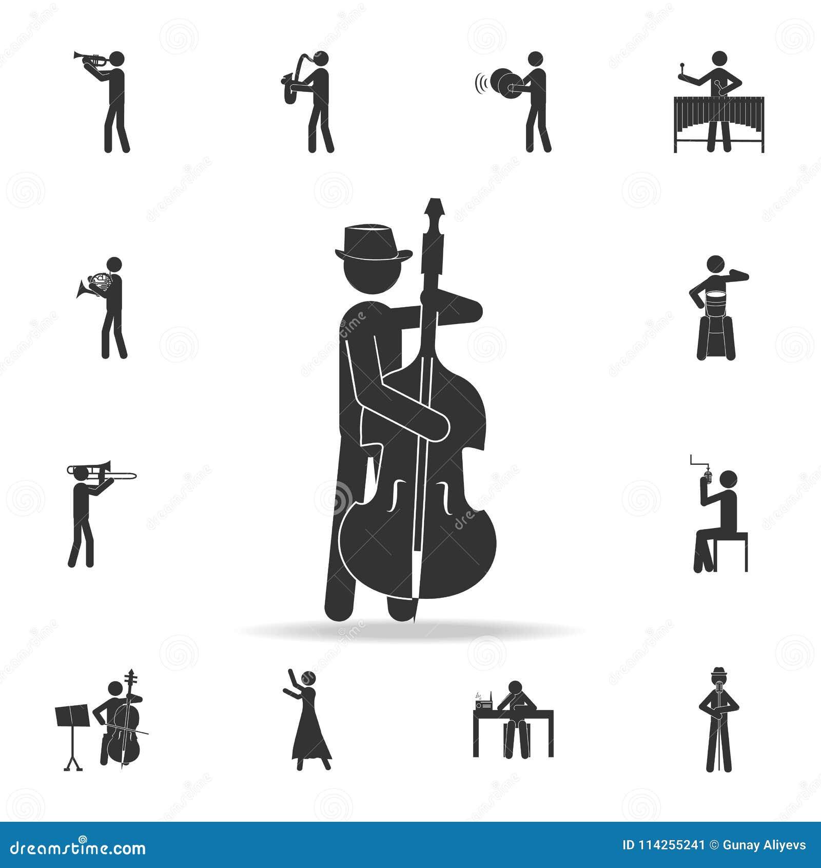 Dwoisty basowy gracz z kontrabasową ikoną, wisząca ozdoba Szczegółowy set muzyczne ikony Premii ilości graficzny projekt Jeden zb