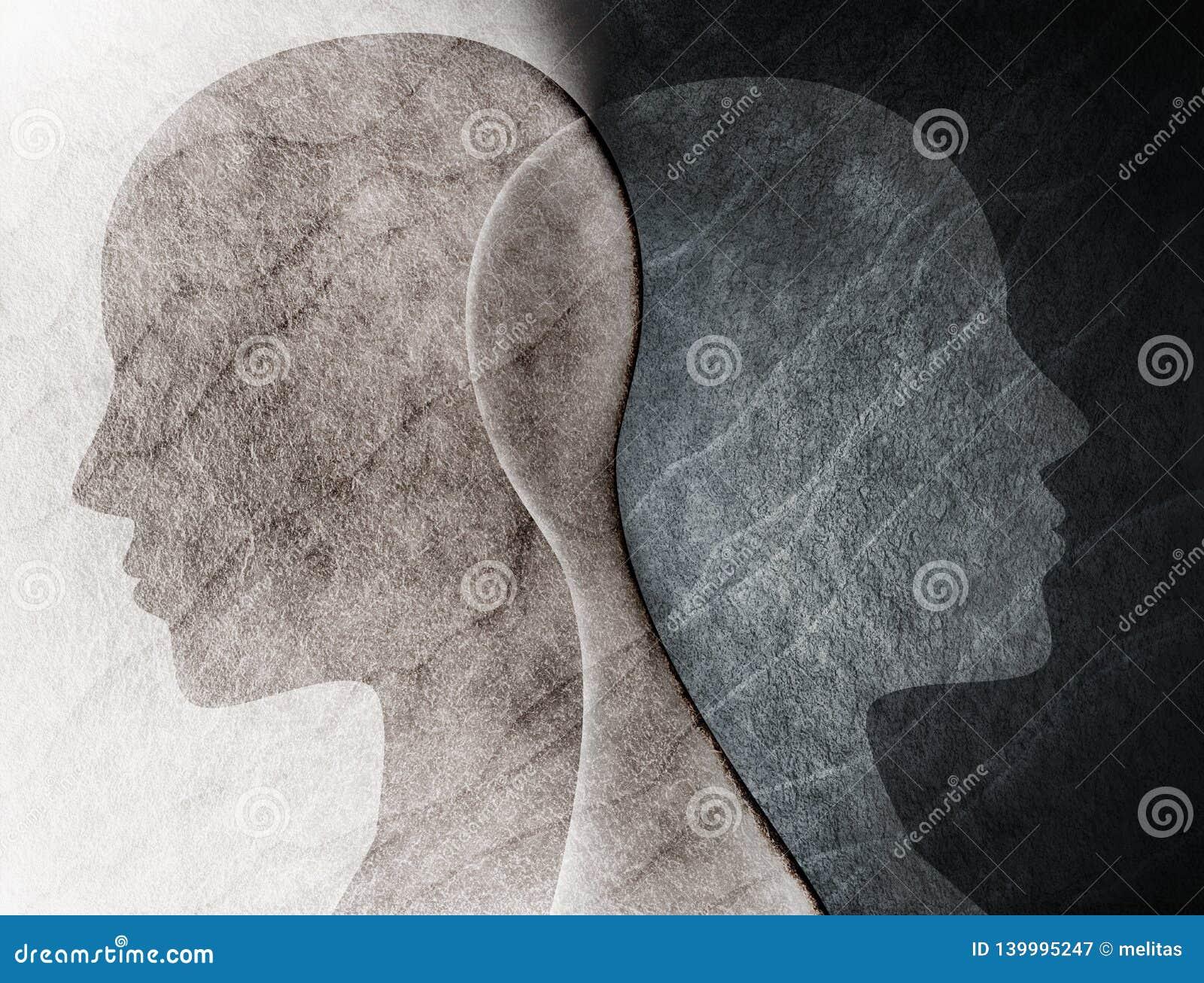 Dwubiegunowego nieładu umysłu umysłowy pojęcie Zmiana nastrój emocje Rozszczepiona osobowość twarzy podwójna dziewczyna ja osobow