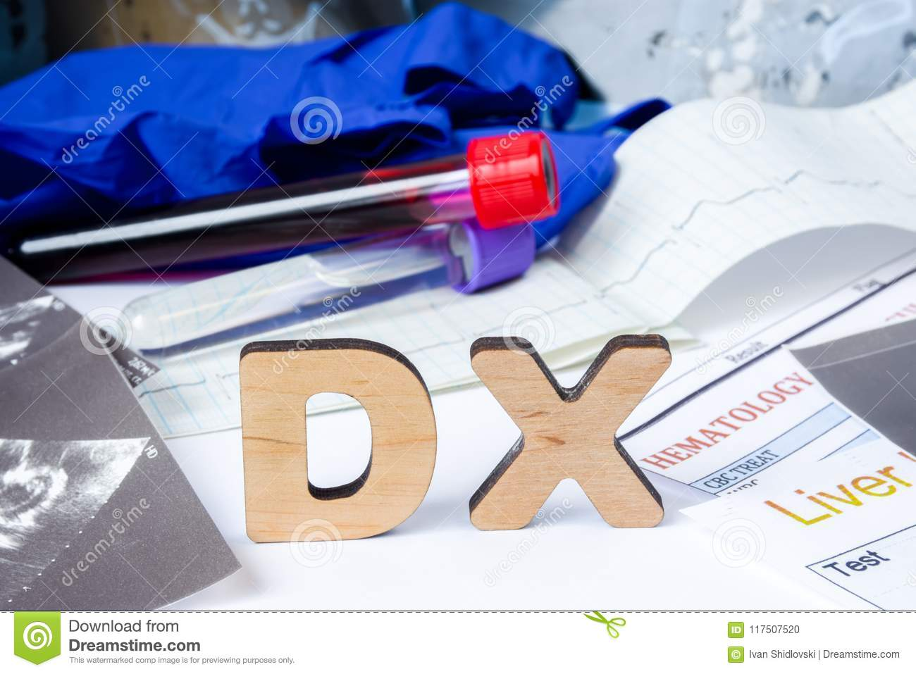 DX Acronym or abbreviation of medical diagnosis - process of determining type of disease on basis of complaints and symptoms. Lett