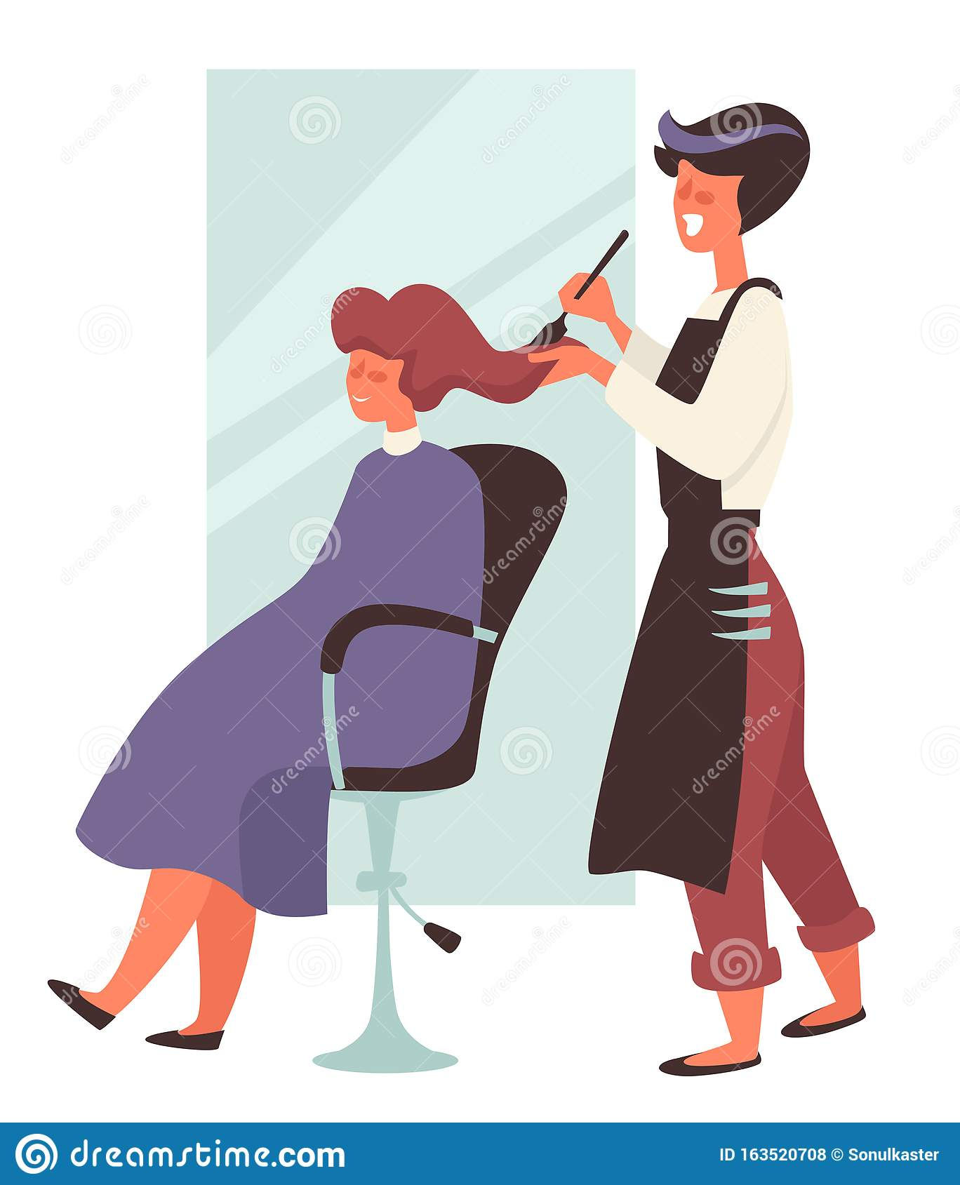 Dye Hair In Beauty Salon Hairdresser And Female Client On Chair Stock Vector Illustration Of Luxury Isolated 163520708