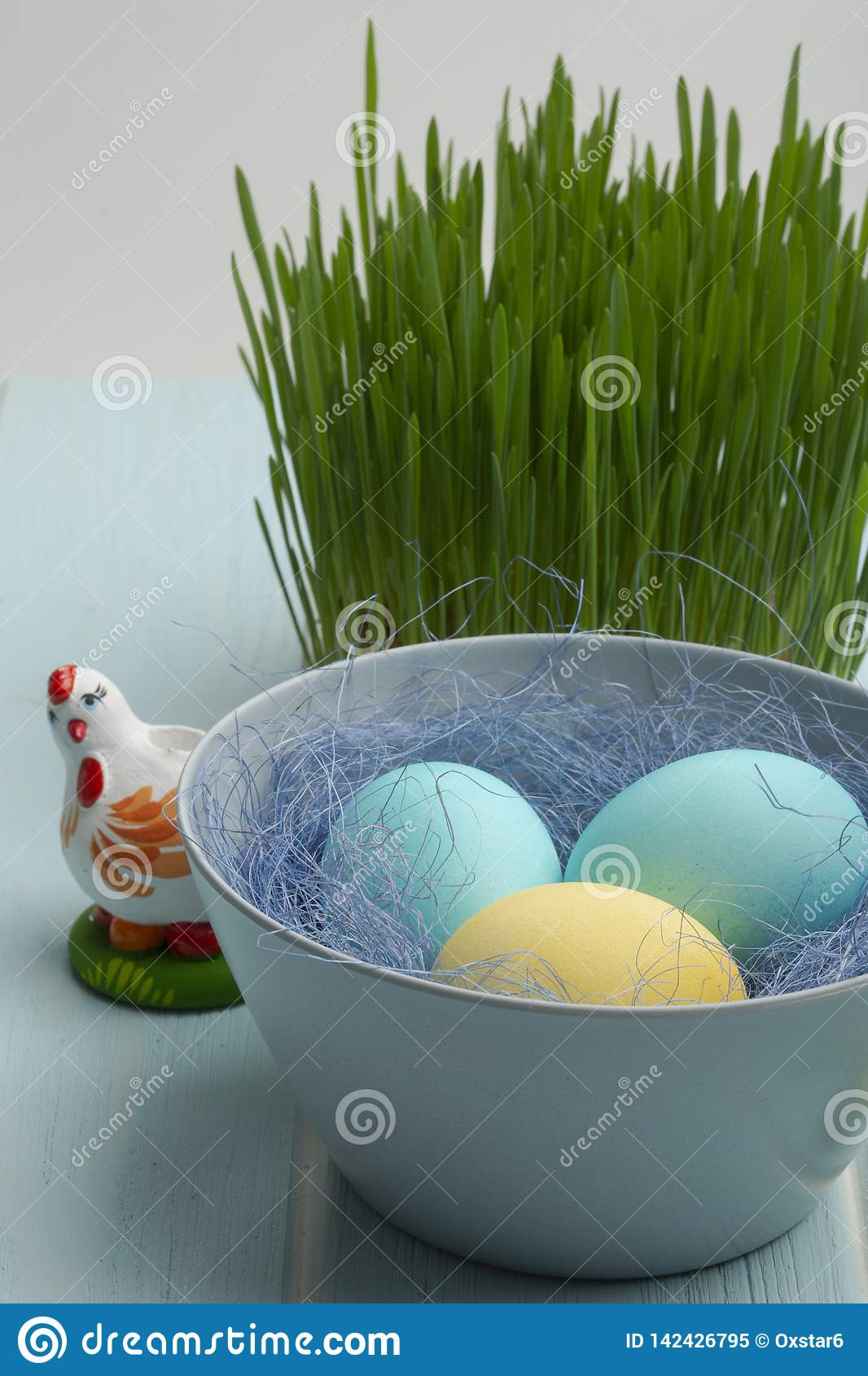 Dyed chicken eggs in a bowl