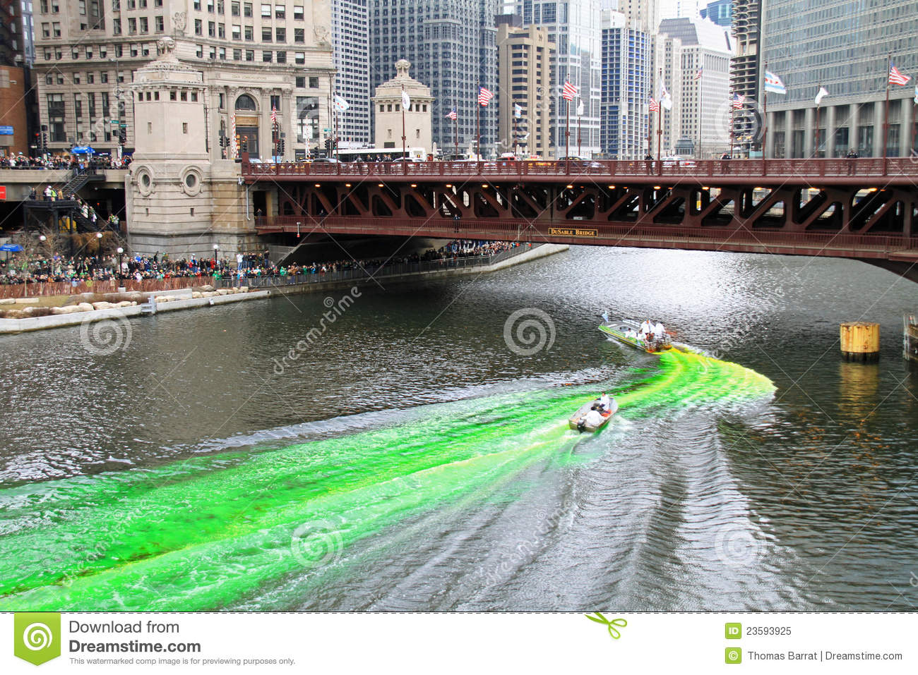 Dyeing The Chicago River Green Editorial Image - Image: 23593925