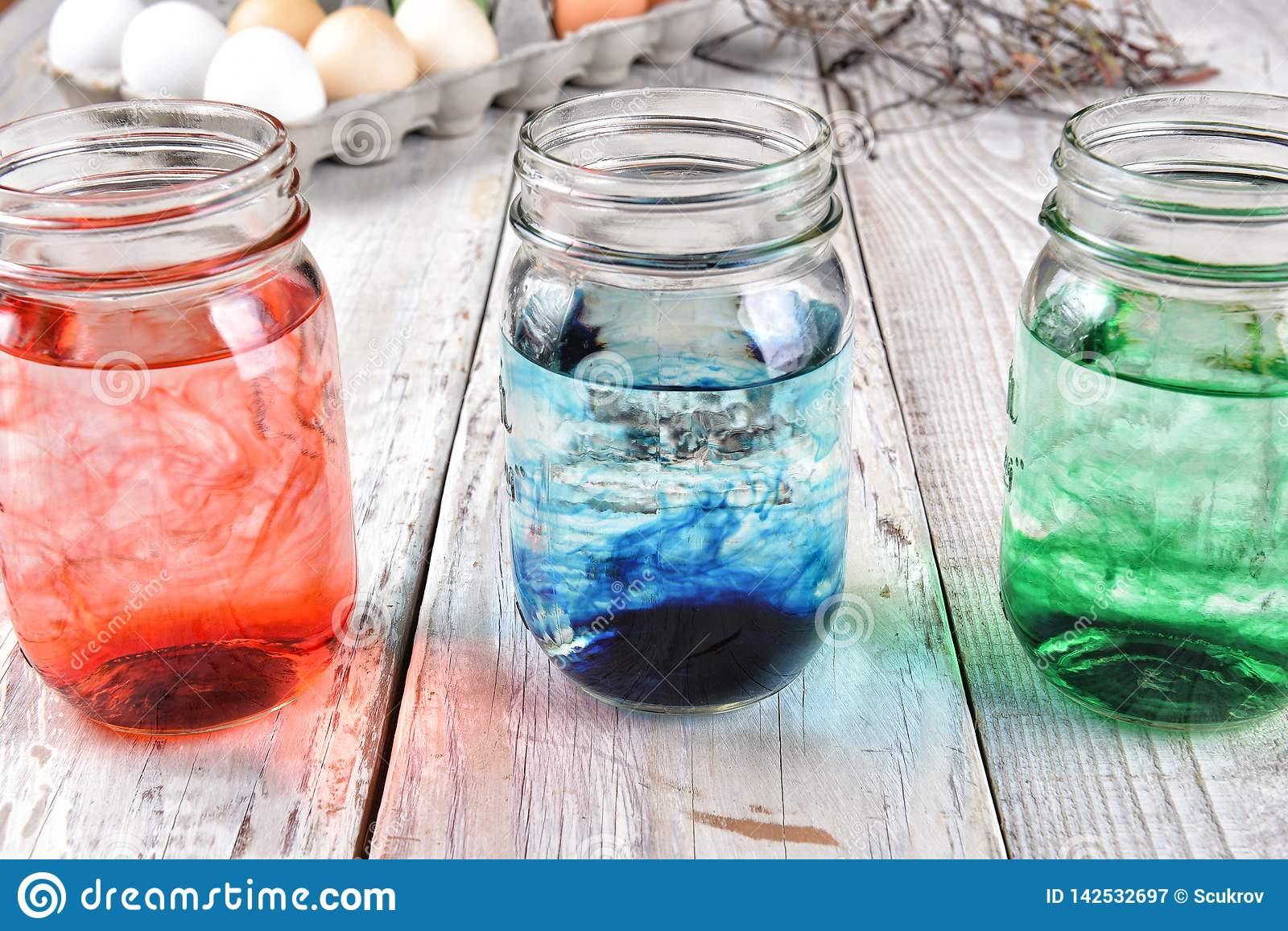 Dying Easter Eggs In Mason Jars Stock Image Image Of Boiled Ideas 142532697