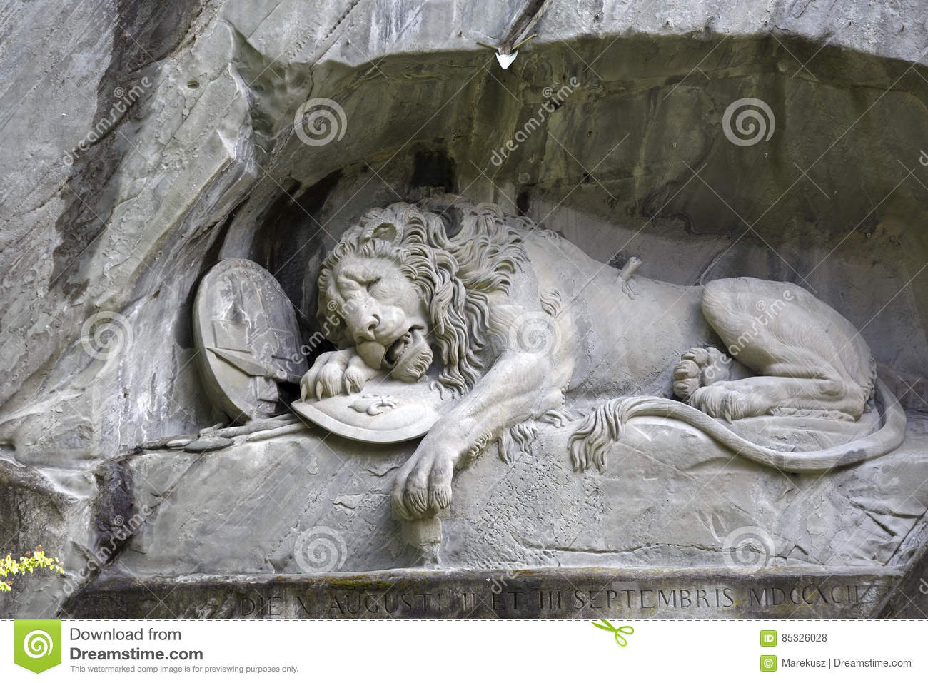Dying Lion carved in rocky wall in Lucerne