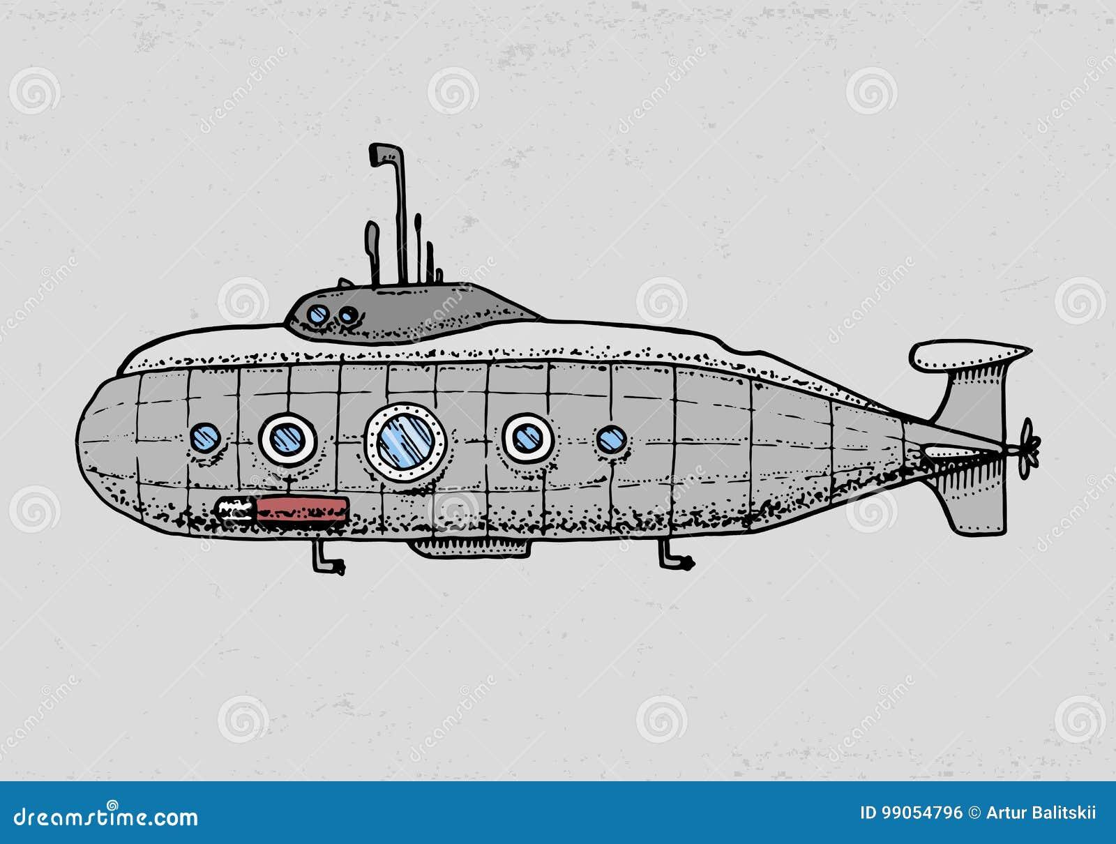 Dykar från den militära ubåten eller det undervattens- fartyget med periskopen till det djupa havet den inristade handen som dras