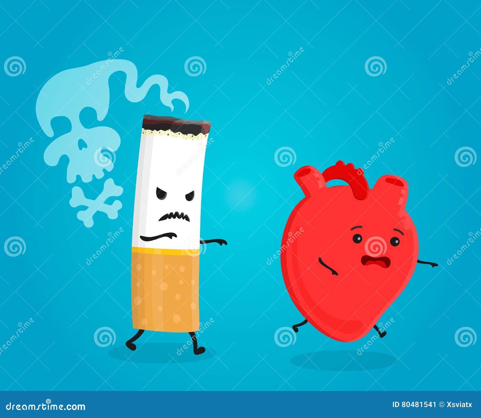 Dymi zwłoki serce złamana papierosowa pojęcia przestań palić Papierosowi zwłoka Wektorowa płaska kreskówki ilustracja