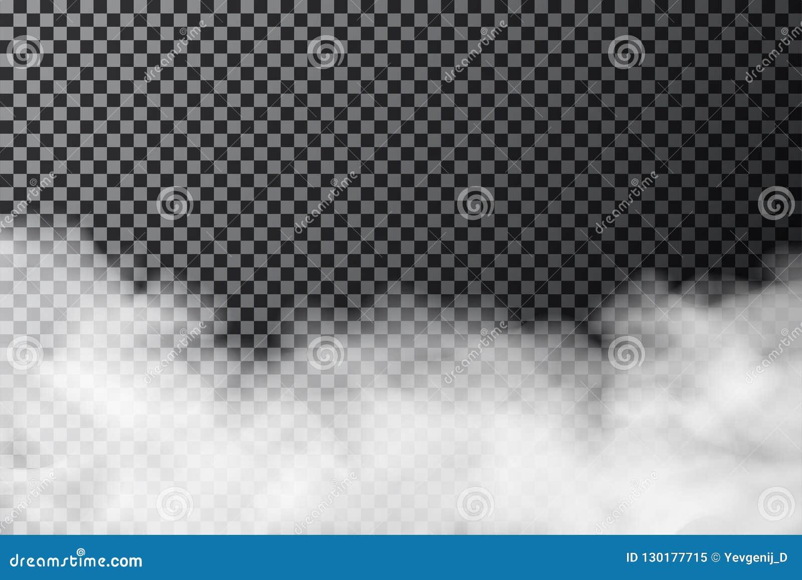 Dymna chmura na przejrzystym tle Realistyczna mgły lub mgły tekstura odizolowywająca na tle