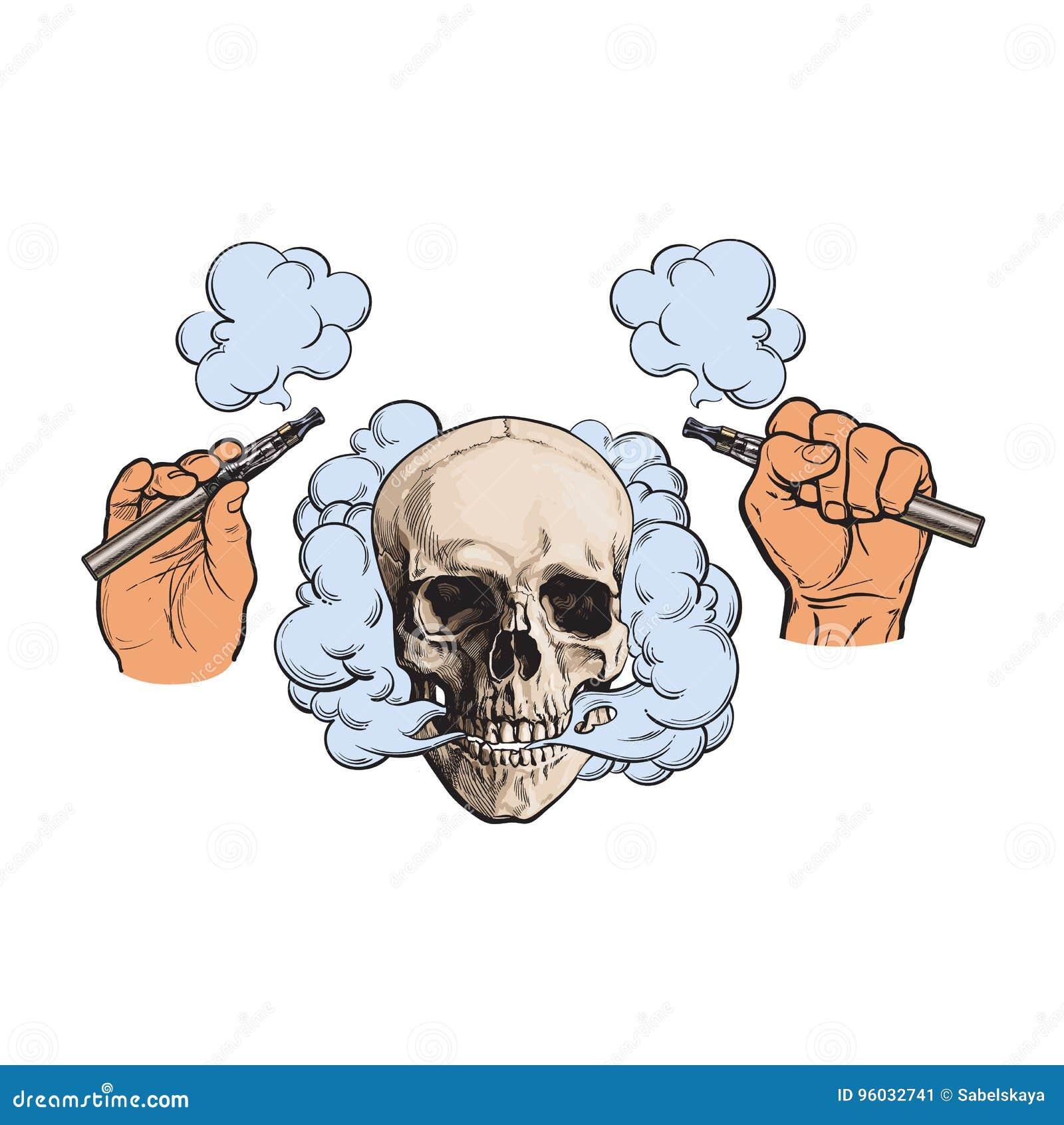 Dymny przybycie z czaszki, elektroniczni papierosy w męskich rękach