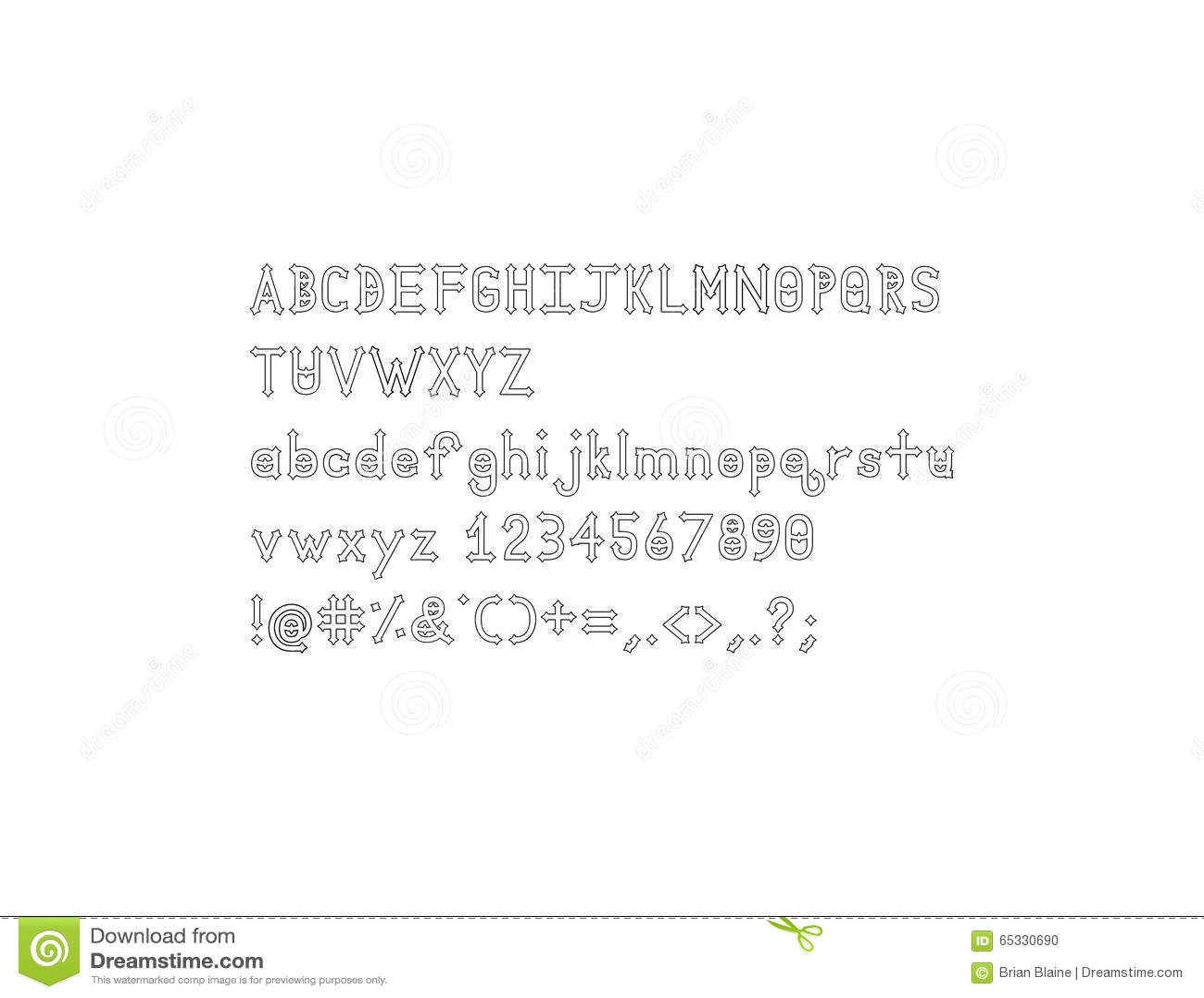 Dymond Speers Outline Alphabet Font Stock Illustration