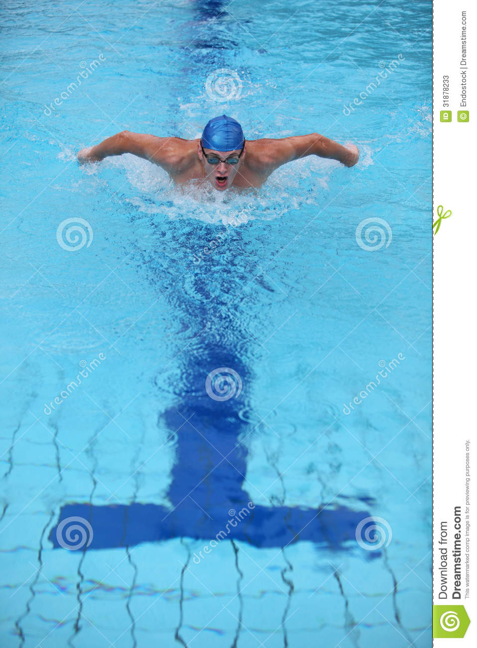 Dynamic And Fit Swimmer Performing The Butterfly S Stock