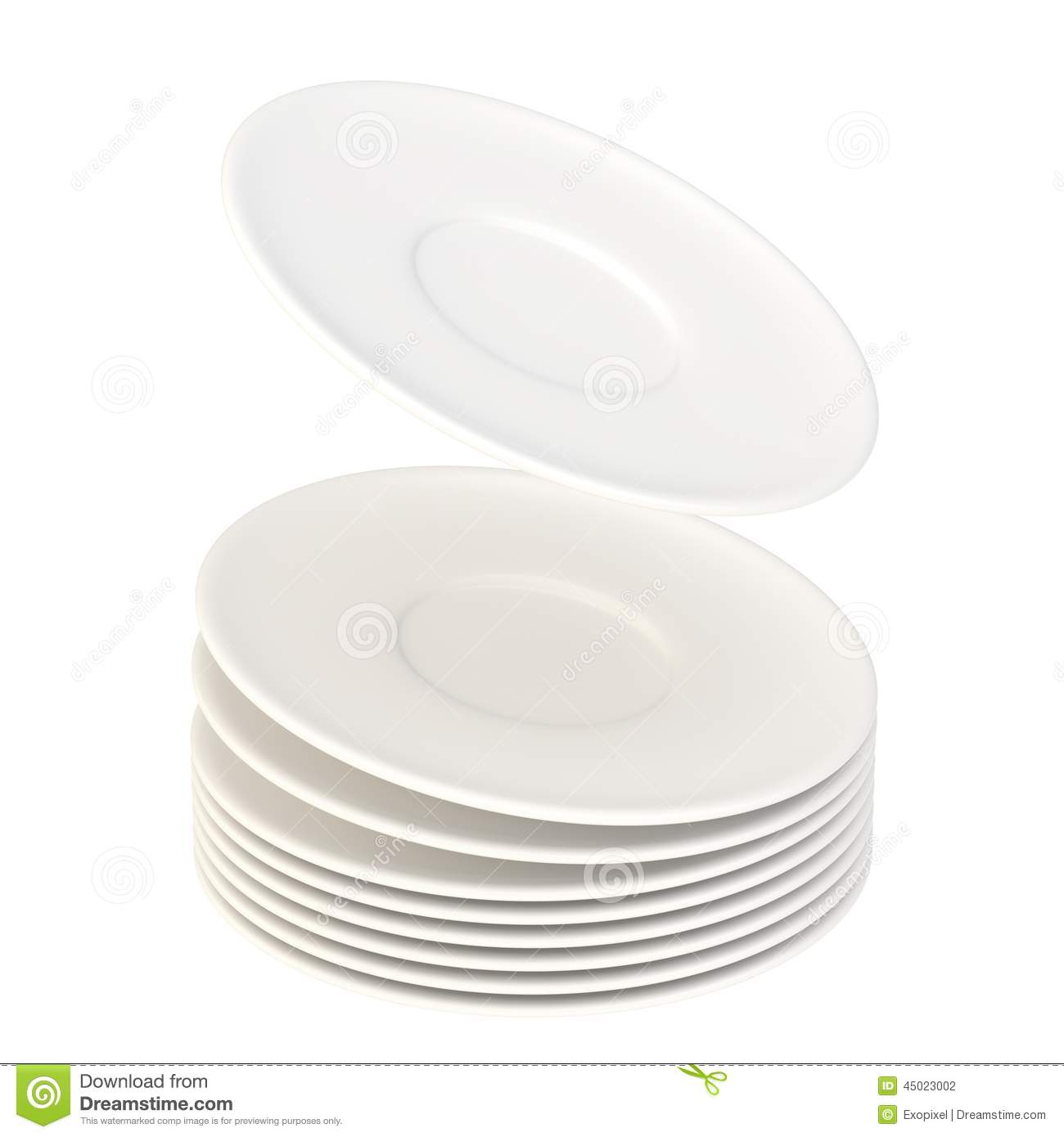 dynamic pile of ceramic plates isolated stock illustration. Black Bedroom Furniture Sets. Home Design Ideas