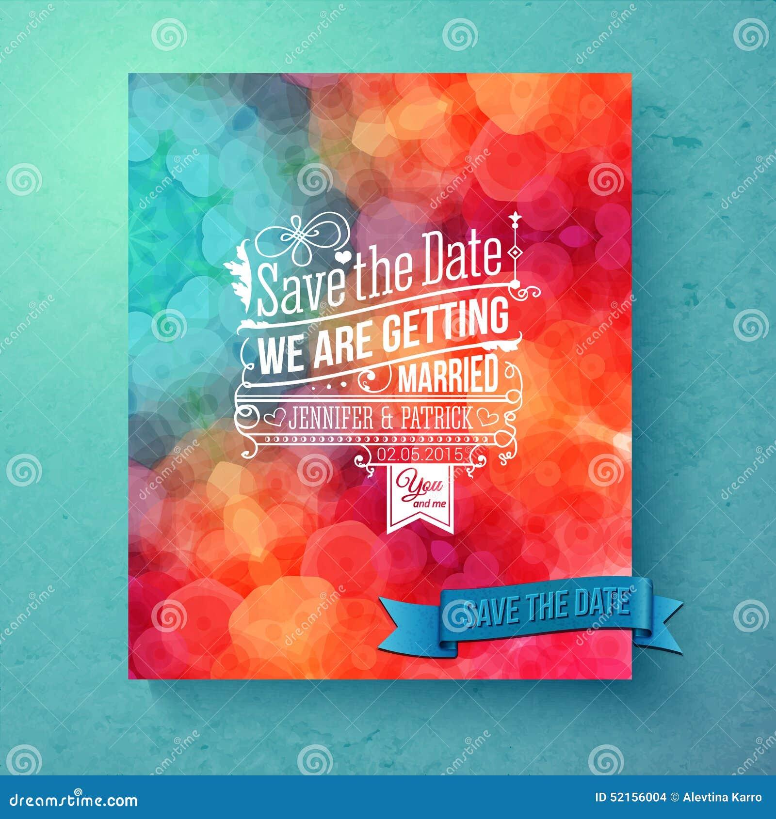 Dynamic Vibrant Save The Date Wedding Invitation Stock Vector ...