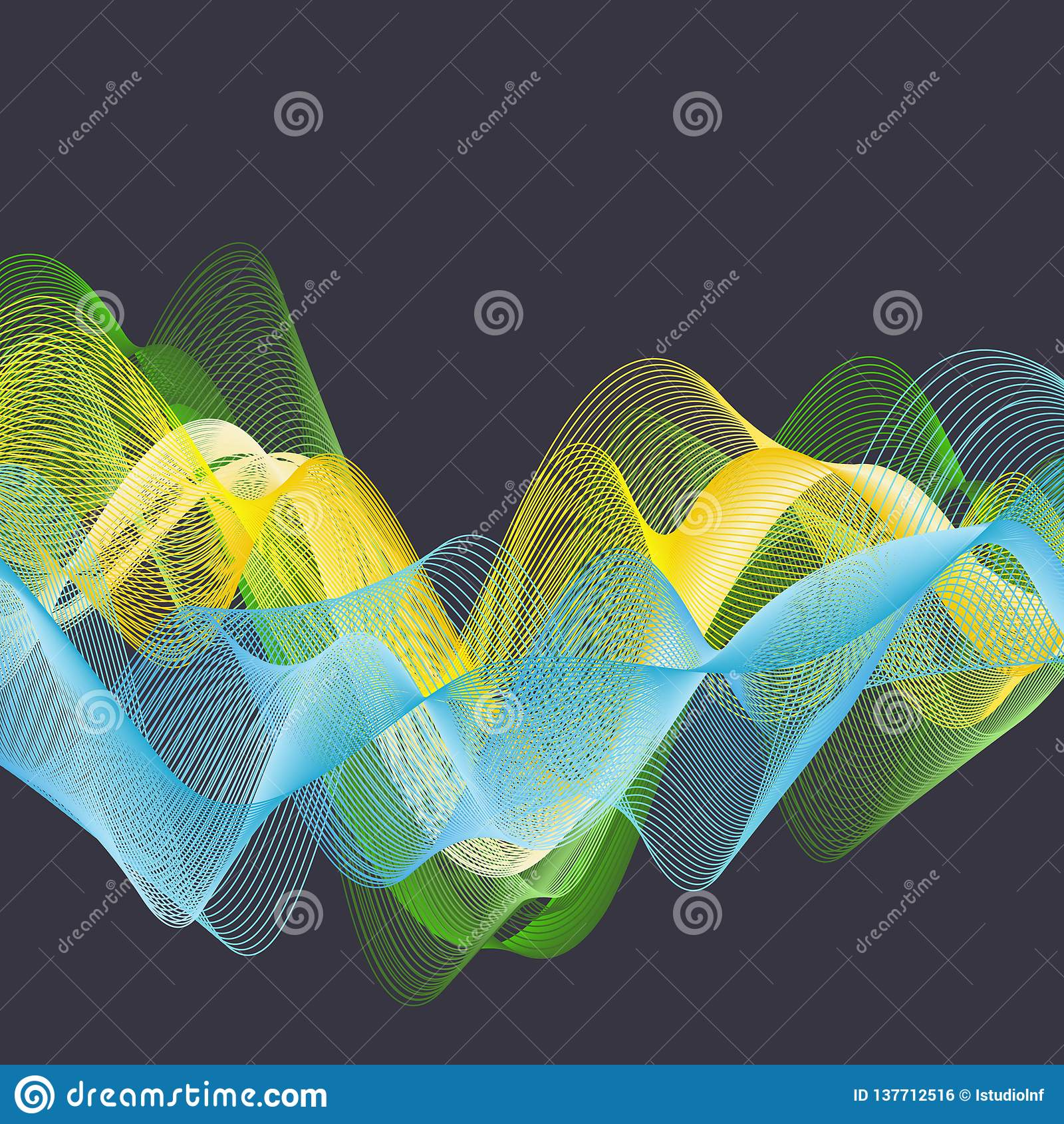 Dynamic waves illustration, abstract background