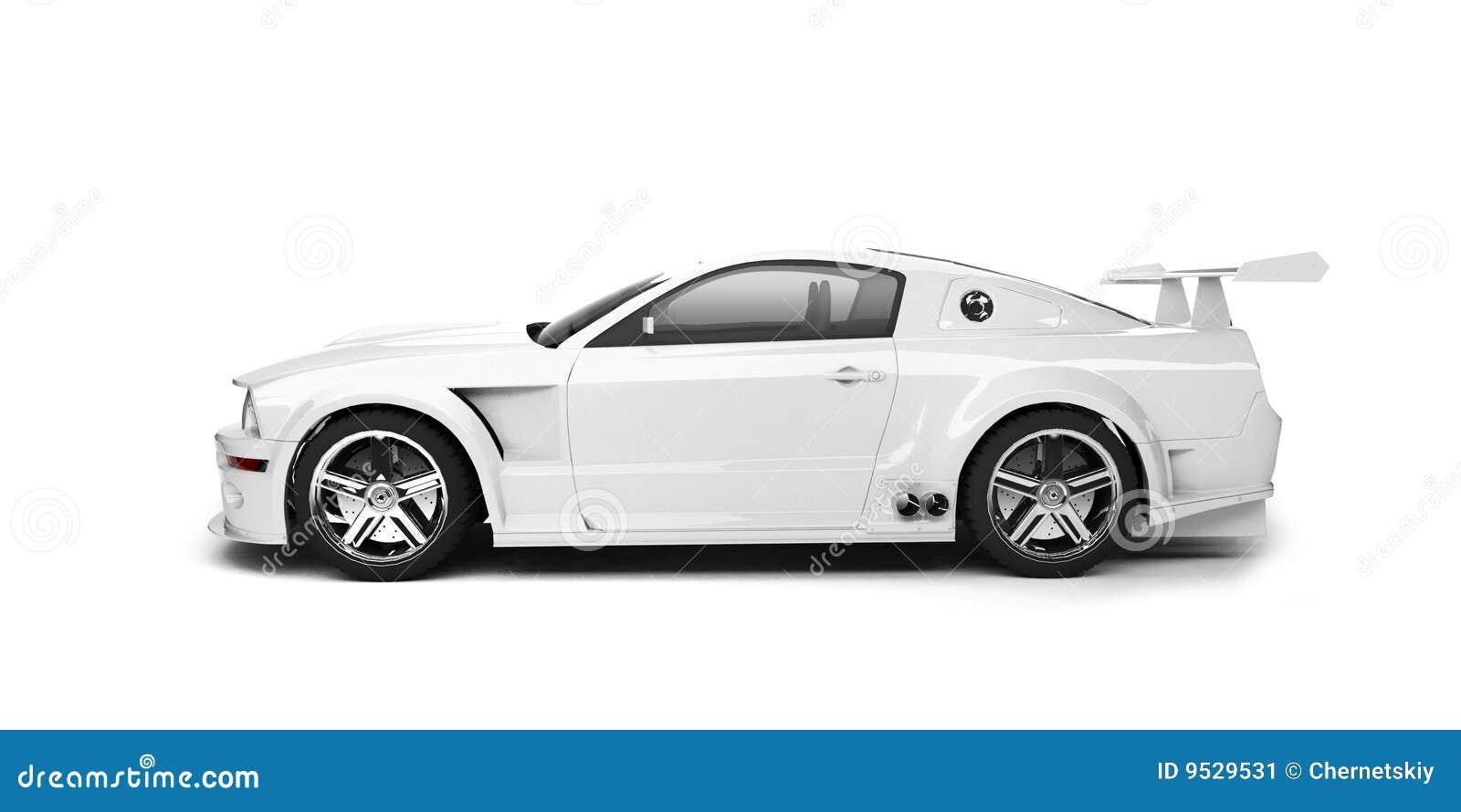 dynamic white sport car side view stock illustration