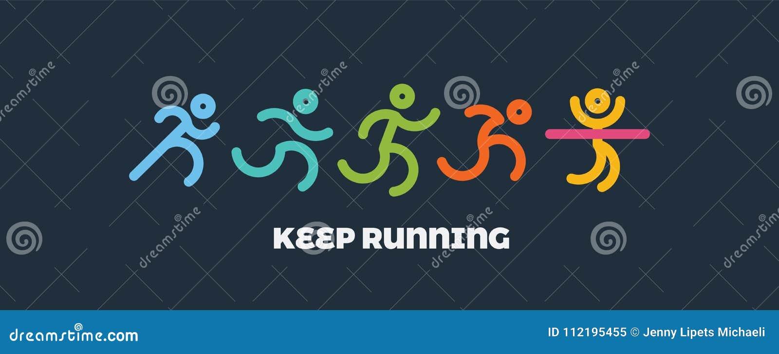 Dynamiczni bieg ludzie ustawiający Sport i zdrowa styl życia ilustracja dla twój projekta rywalizacja i koniec