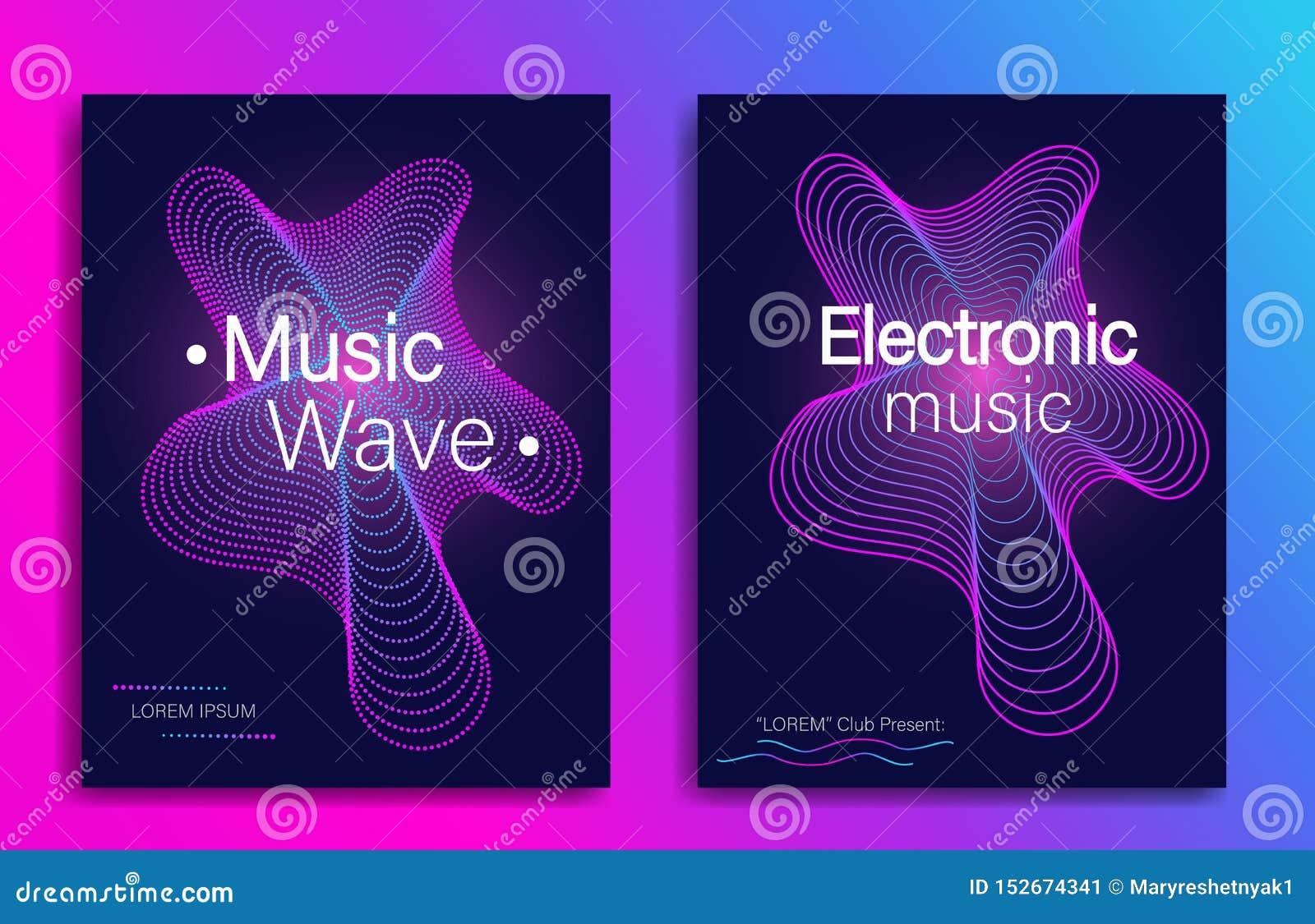 Dynamische gradiëntvorm Het ontwerp van de muziekvlieger met de abstracte golven van de gradiëntlijn Elektronische muziekpartij M