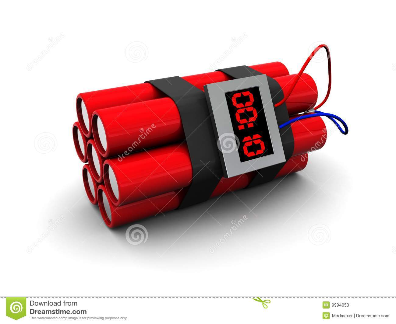 3d illustration of dynamite with timer over white background.