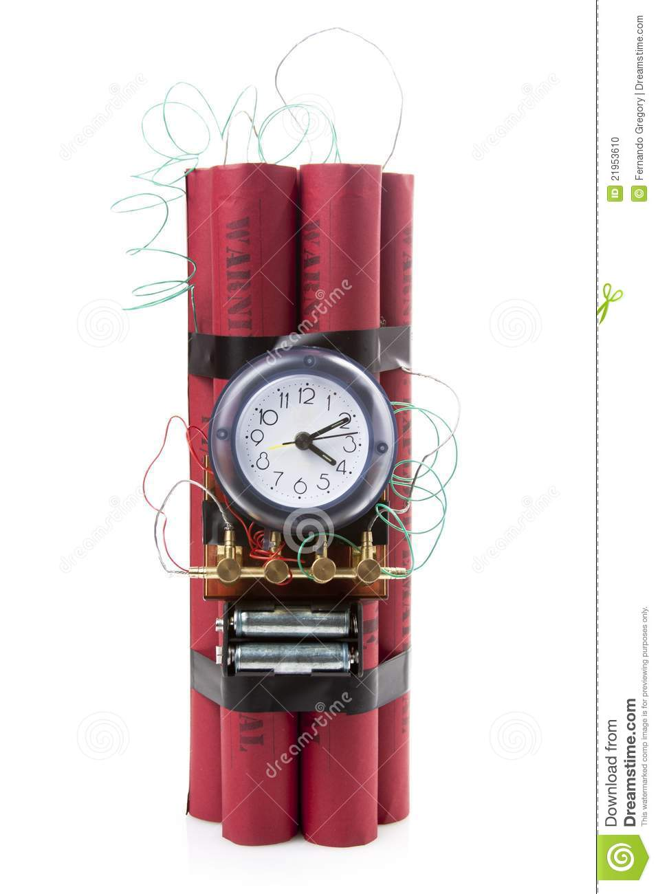 Dynamite Time Bomb On A White Background Stock Photo