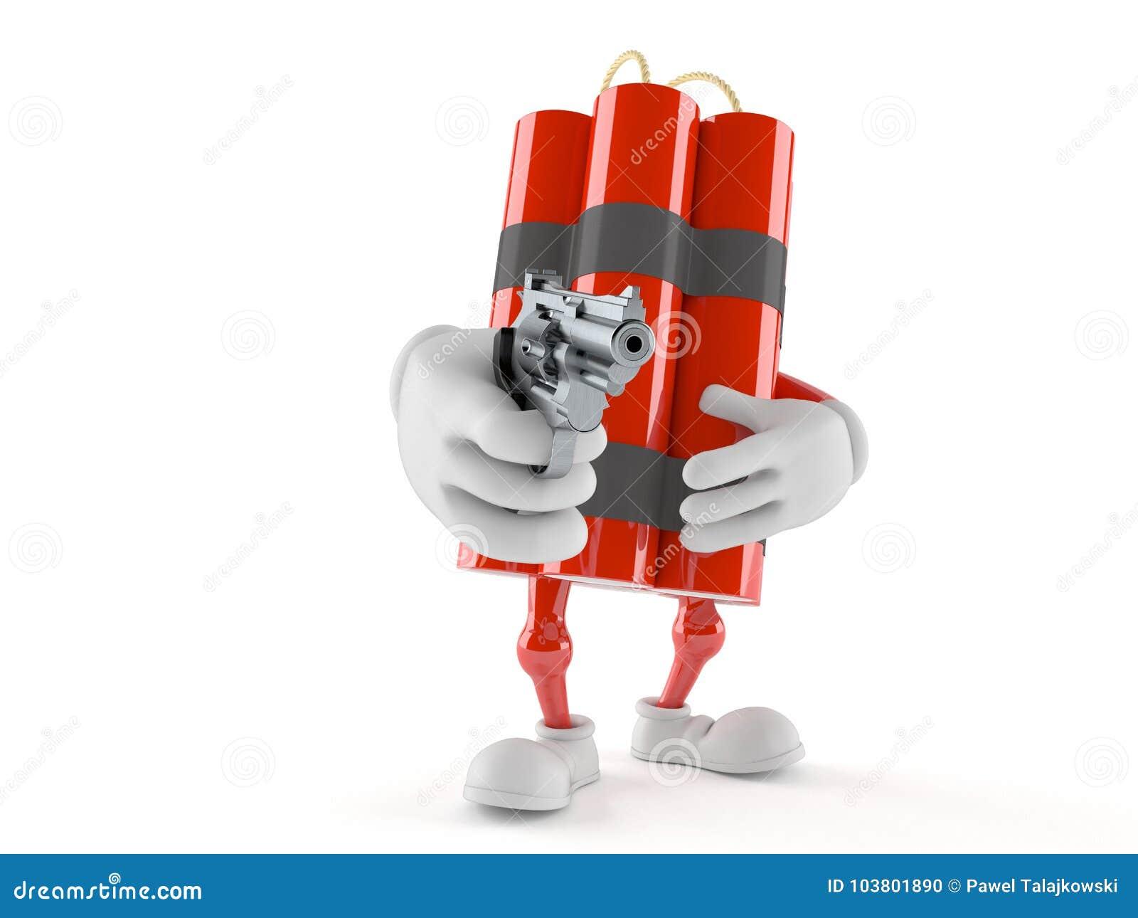 Dynamittecken som siktar ett vapen