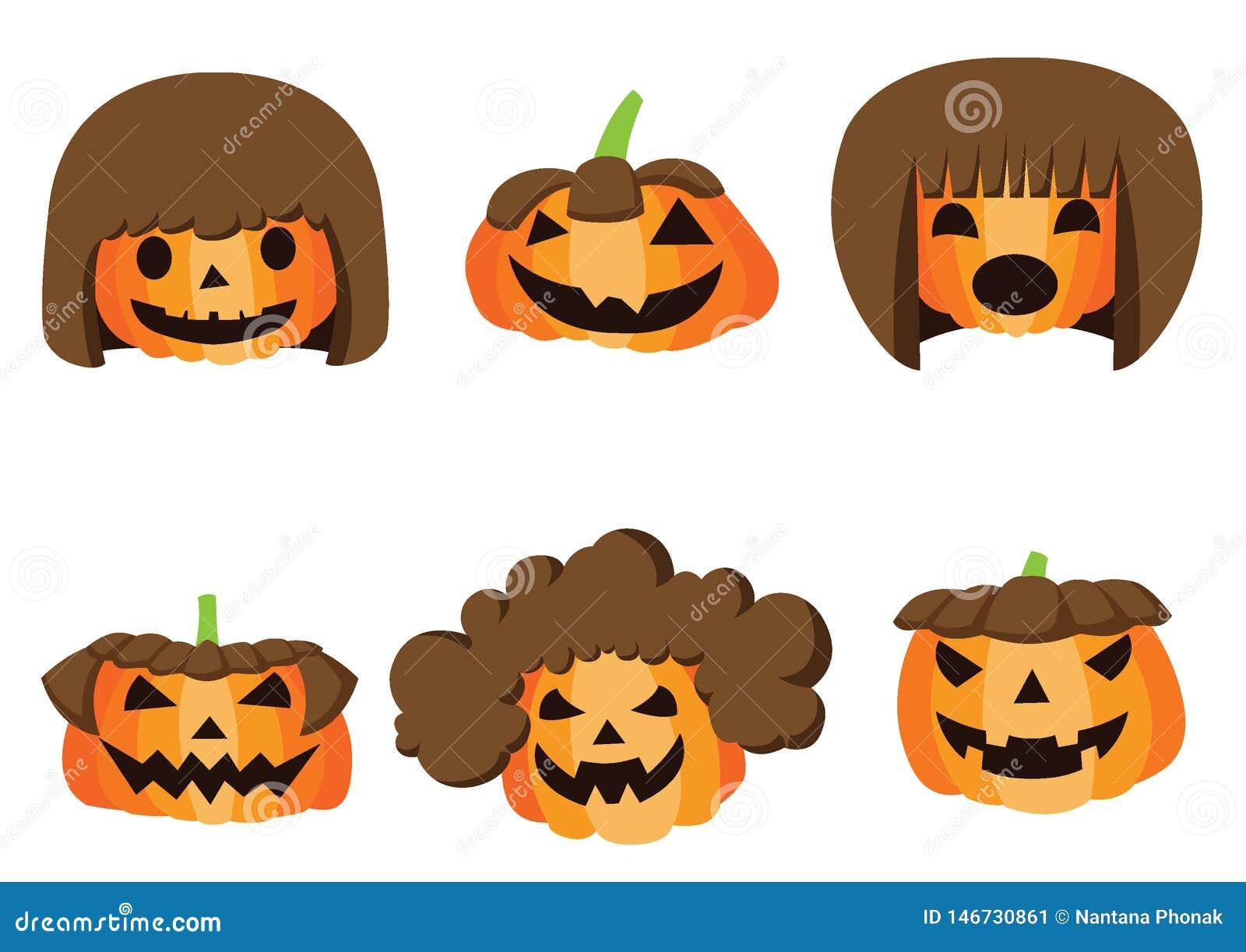 Dyniowej fryzury Halloweenowy projekt na białym tło ilustracji wektorze
