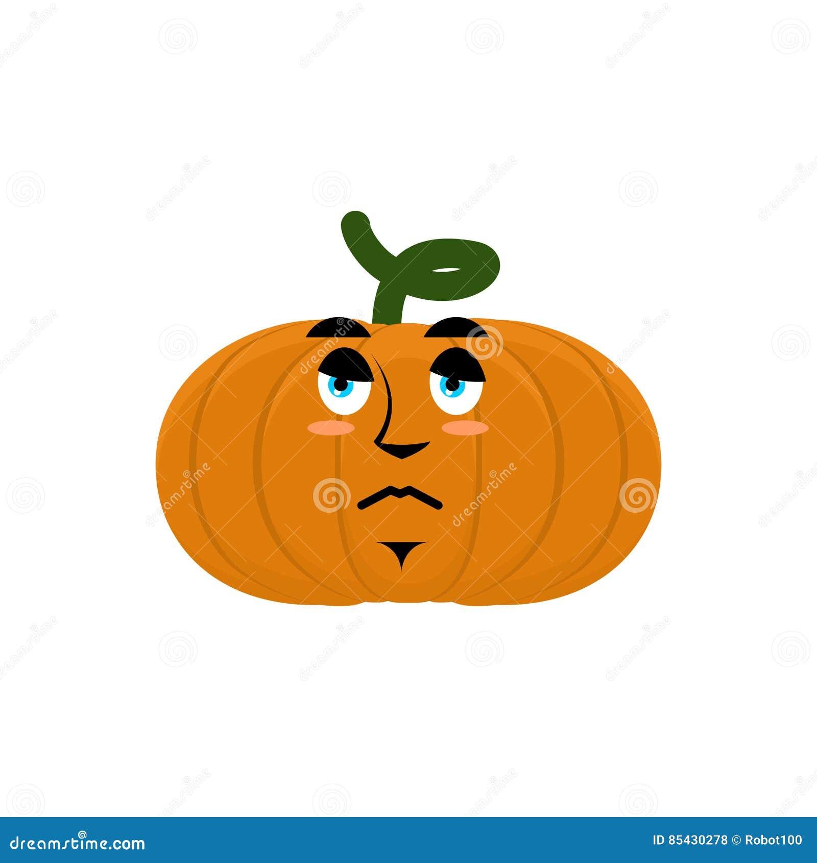 Dyniowy smutny gniewny Emoji Halloweenowa jarzynowa boleściwa emocja ja