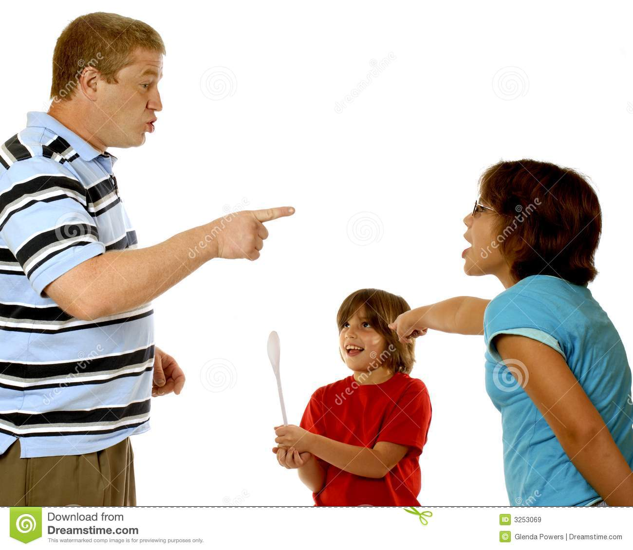 Father scolding his older daughter. She blames her little sister. This ...