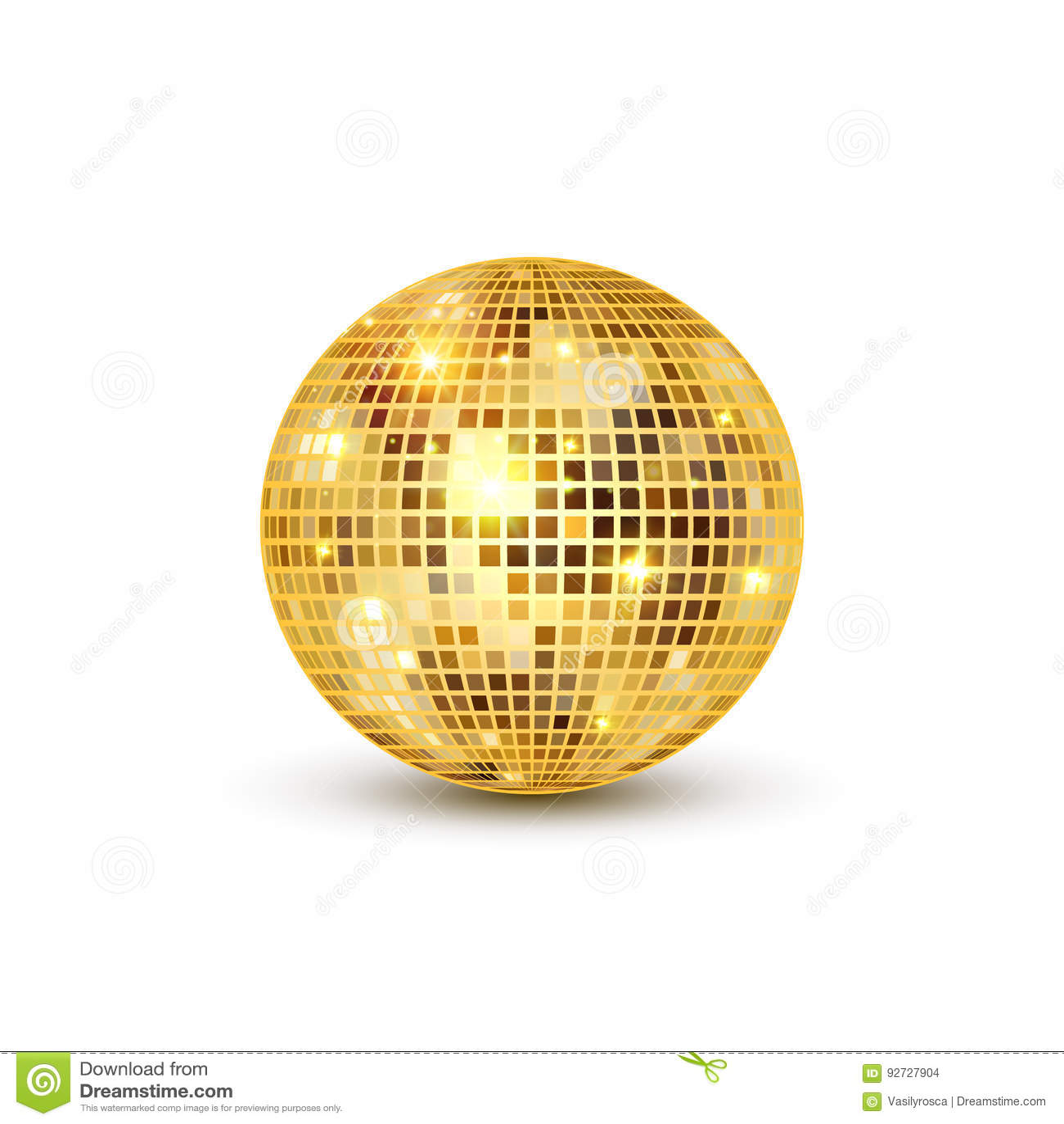 Dyskoteki piłki odosobniona ilustracja Noc klubu przyjęcia światła element Jaskrawy lustrzany złoty balowy projekt dla dyskoteka