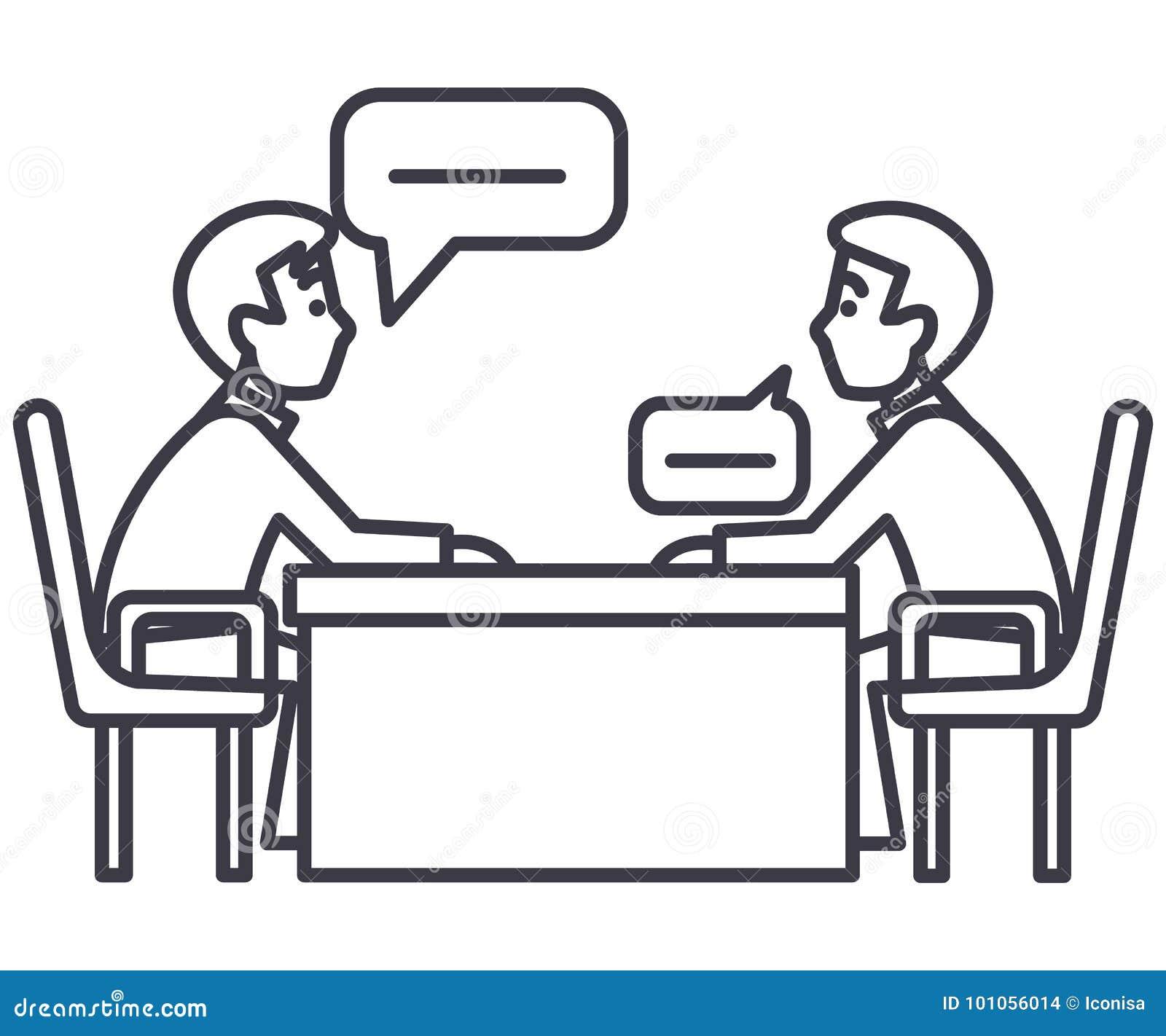 Dyskusja dwa partnera, wywiad, indagacja, egzaminacyjna wektor linii ikona, znak, ilustracja na tle