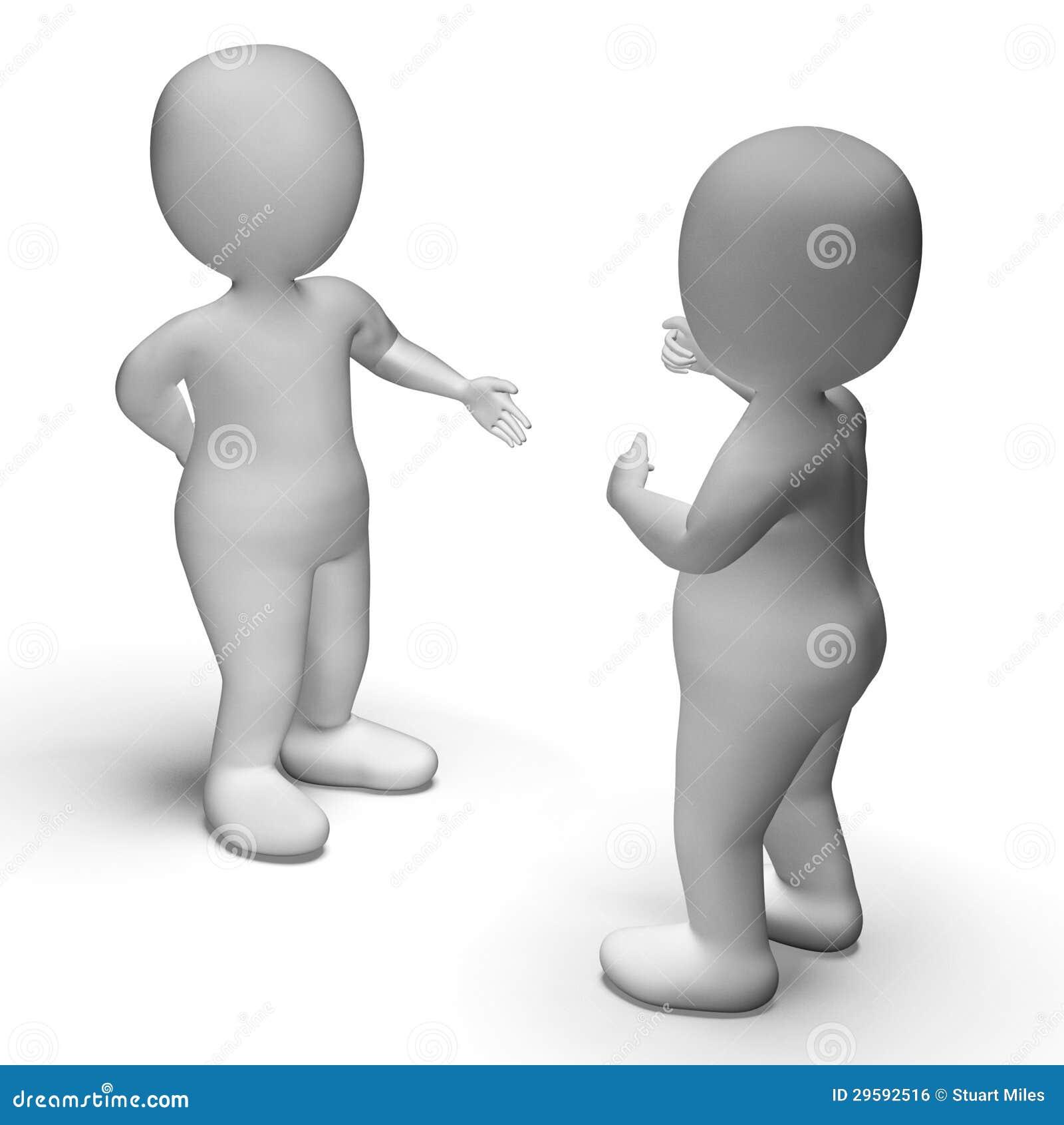 Dyskusja Między Dwa 3d charakterami Pokazuje komunikację
