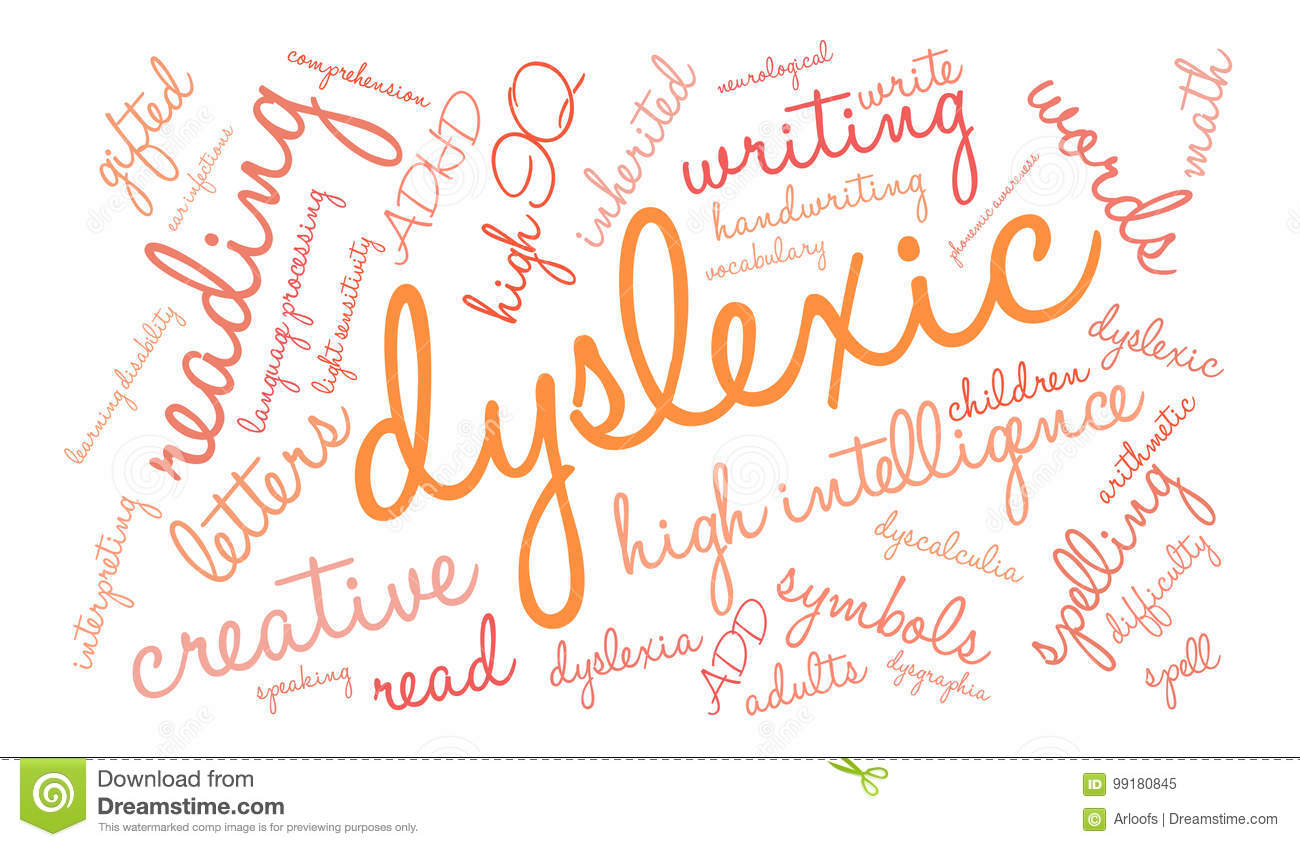 Dyslexic Word Cloud stock vector  Illustration of