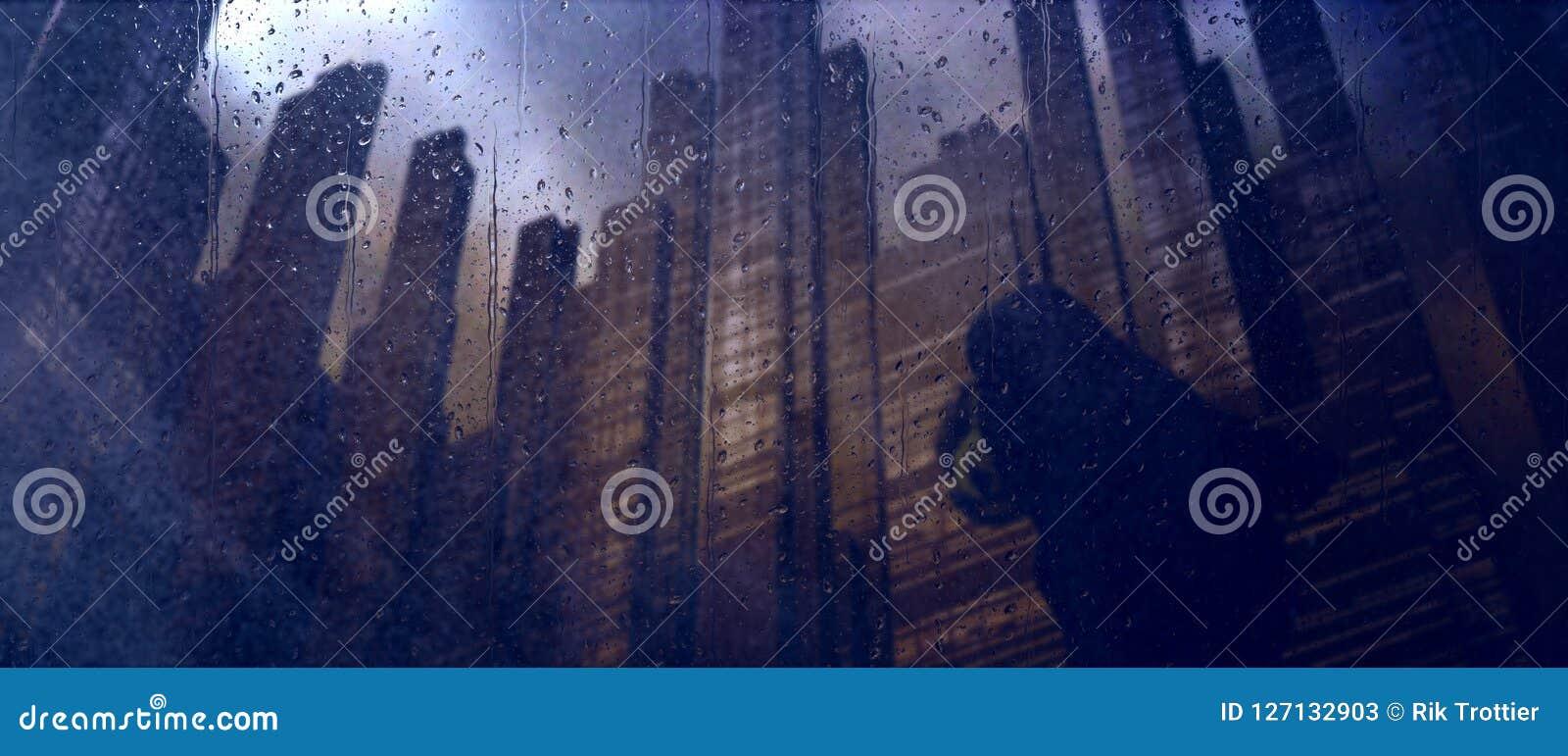 Dystopian ciemny miasto deszcz