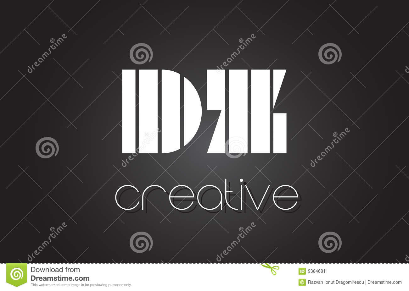 DZ D Z Letter Logo Design With White And Black Lines  Stock