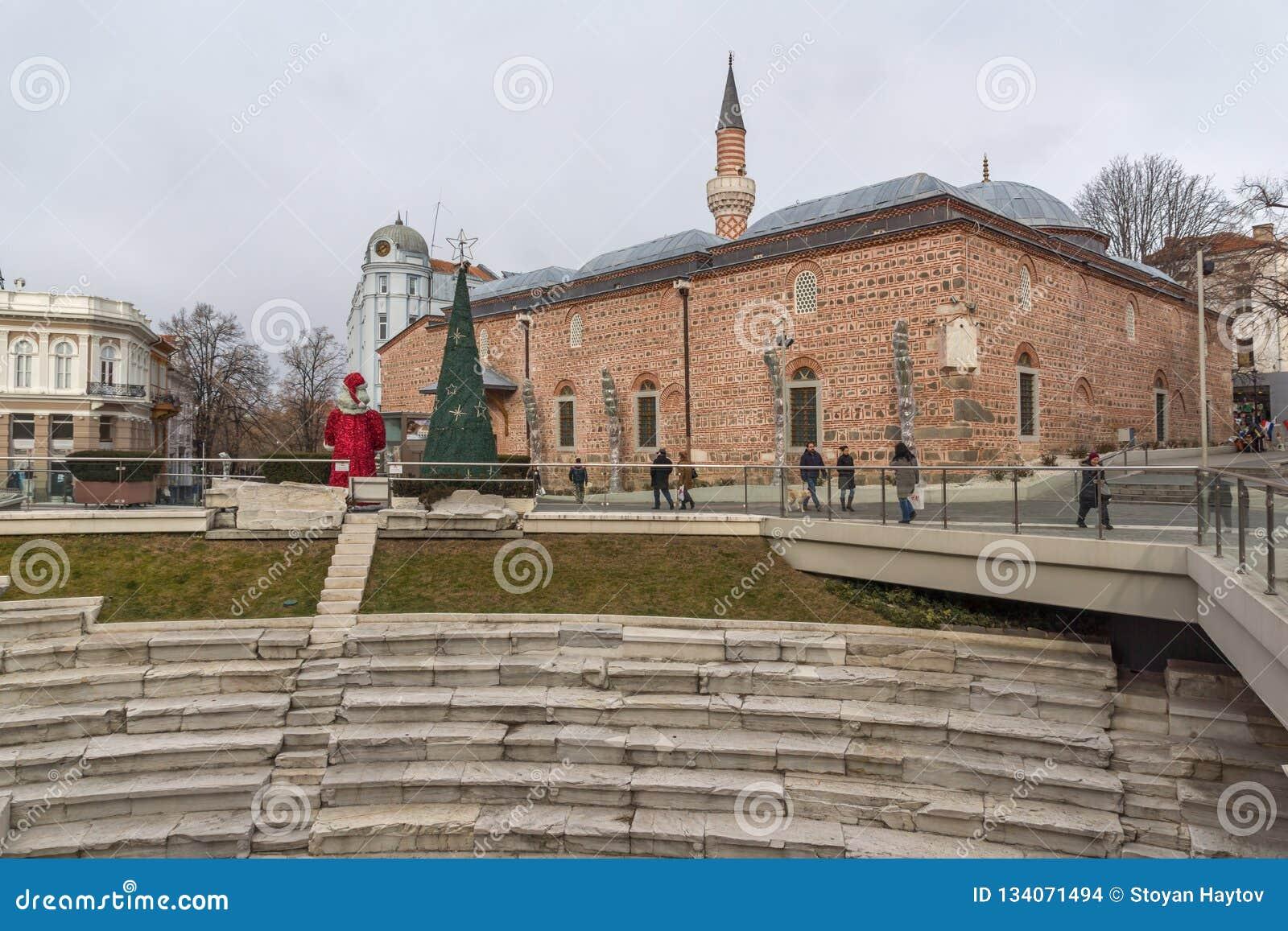 Dzhumaya moské- och romarestadion i stad av Plovdiv, Bulgarien