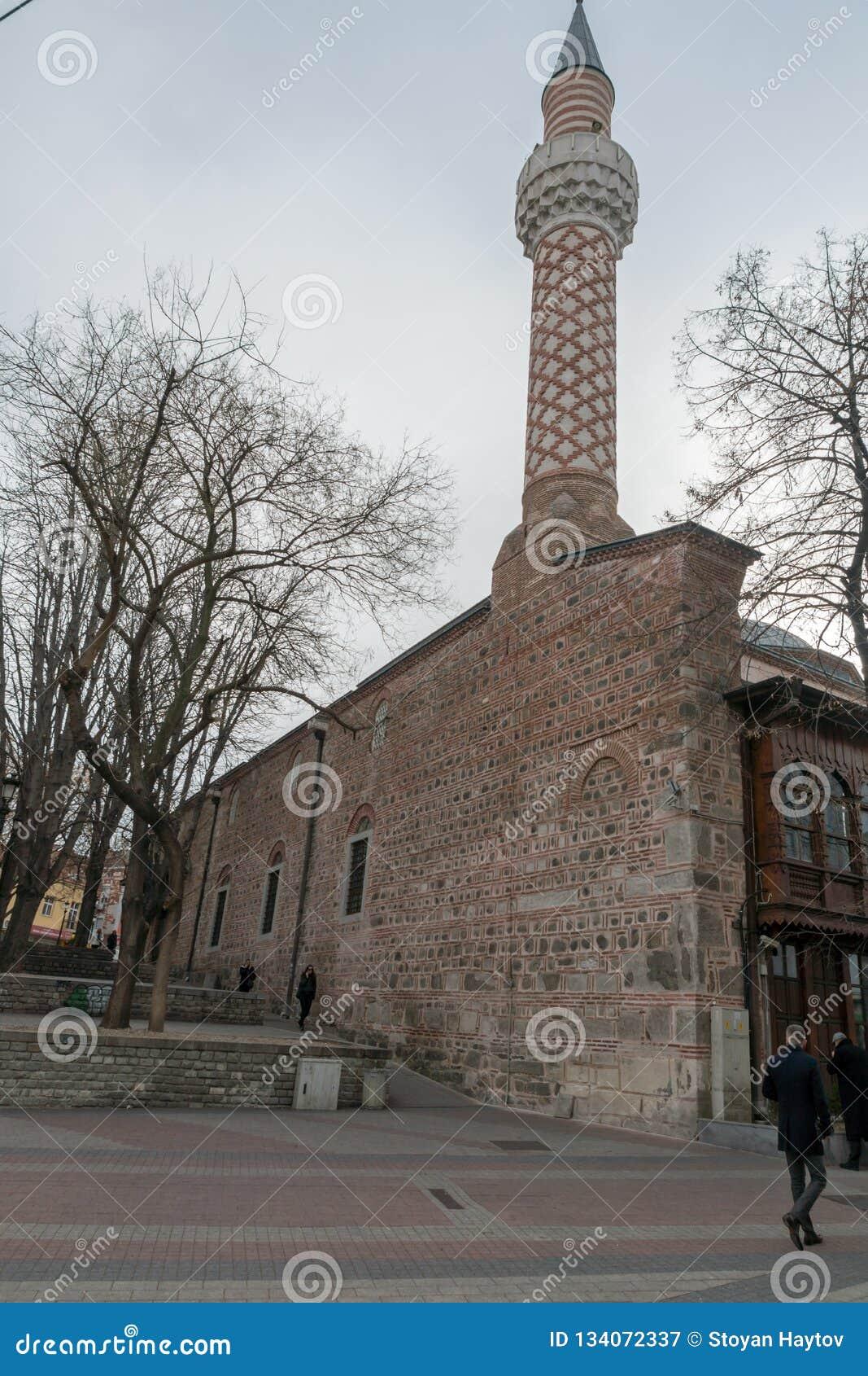Dzhumayamoskee en Roman stadion in stad van Plovdiv, Bulgarije