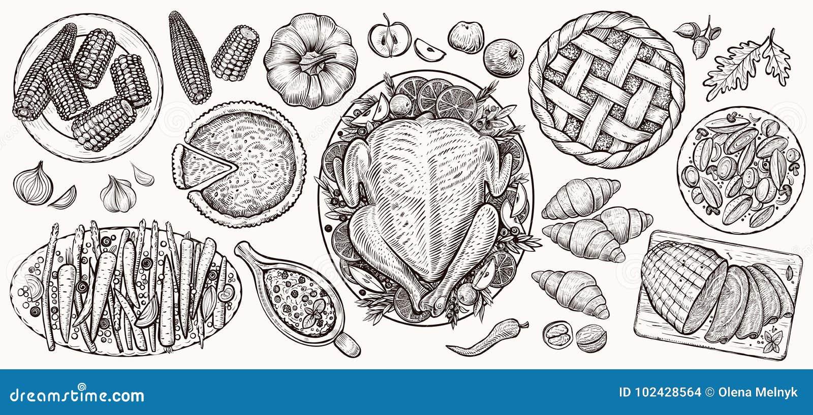 Dziękczynienie gość restauracji, odgórny widok Karmowe wektorowe realistyczne ilustracje