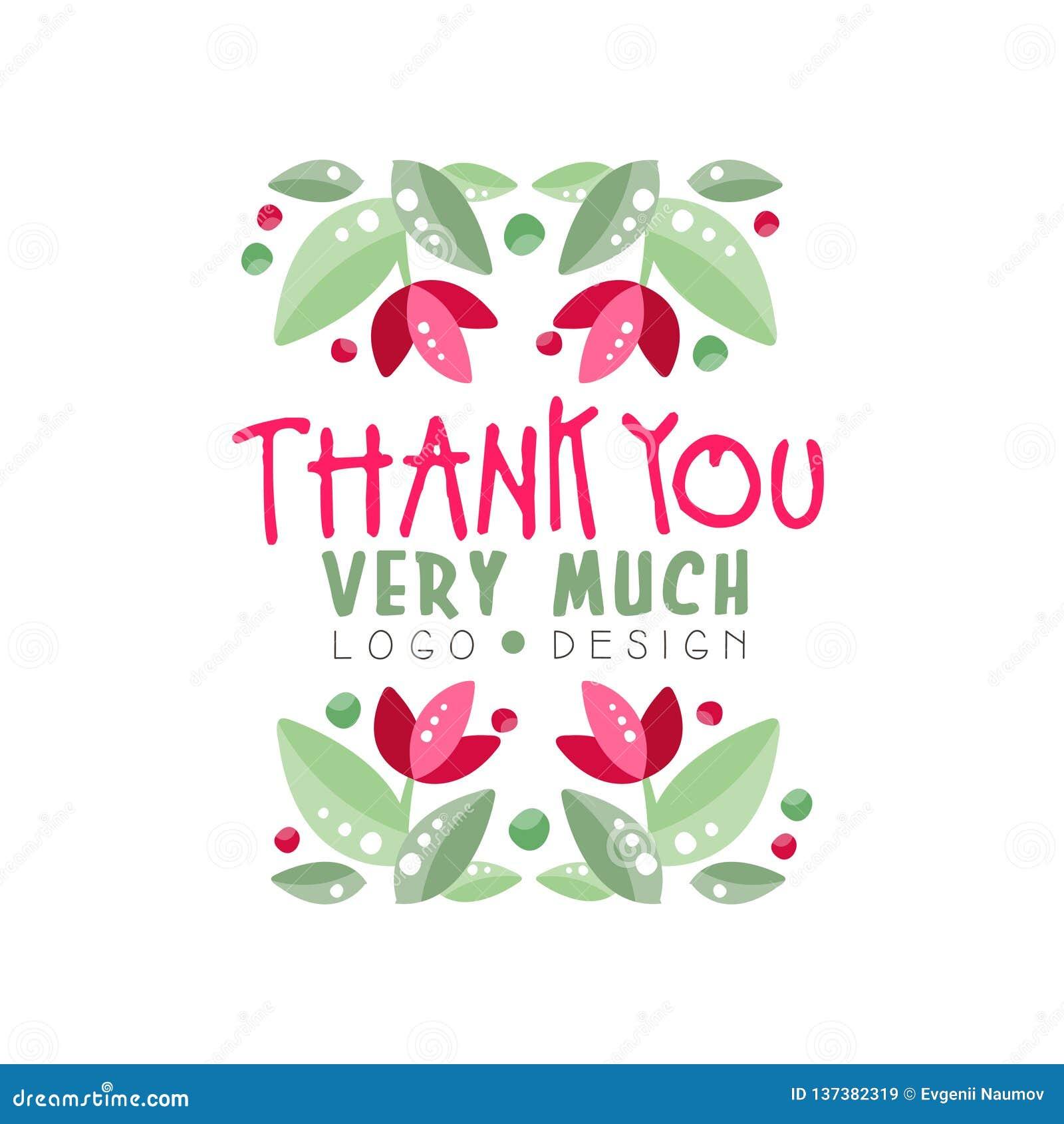 Dziękuje Ciebie Bardzo Dużo logo projekt, wakacje karta, sztandar, zaproszenie z literowaniem, etykietka z kwiecistymi elementami
