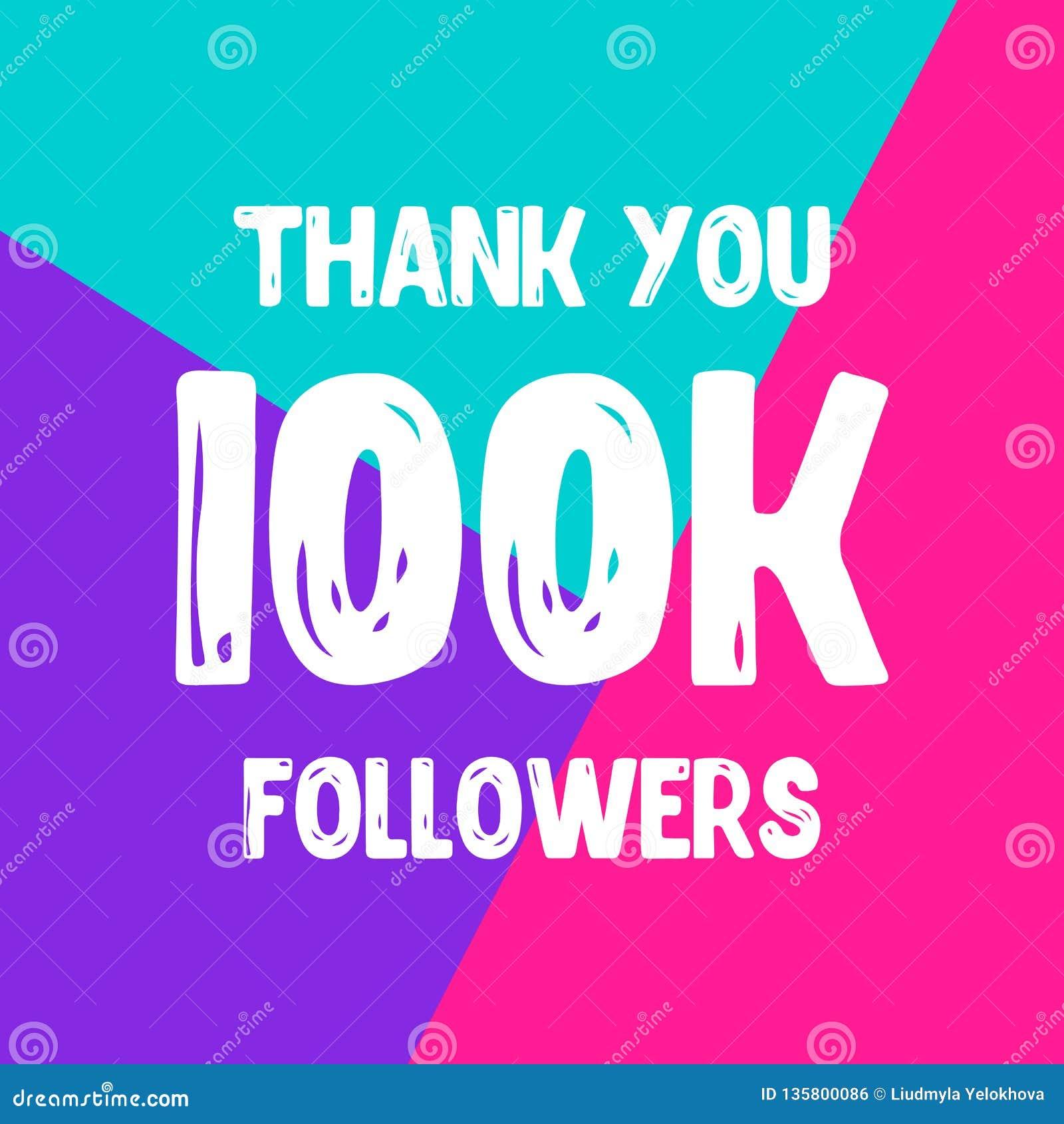 Dziękuje ciebie 100 000 zwolenników sieci ogólnospołeczna poczta