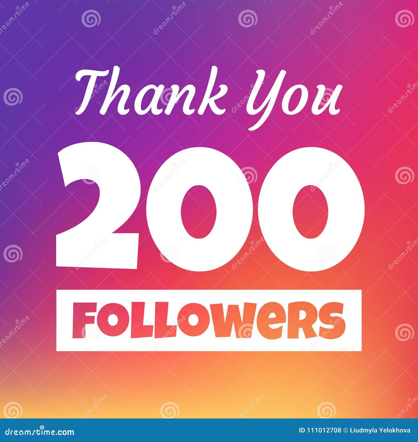 Dziękuje ciebie 200 zwolenników sieci sztandar