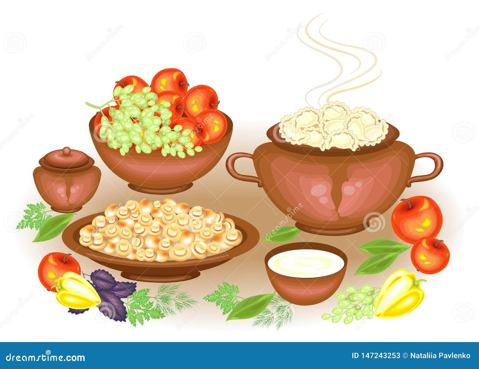 Dzi?kczynienie Dzie? Na świątecznym bogactwo stołu vareniki, kwaśna śmietanka, pieczarek owoc, jabłka, winogrona, zielenie, piepr