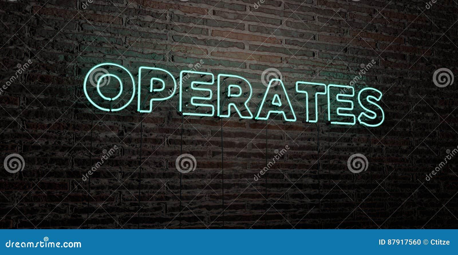 DZIAŁA - Realistyczny Neonowy znak na ściana z cegieł tle - 3D odpłacającego się królewskość bezpłatnego akcyjnego wizerunek