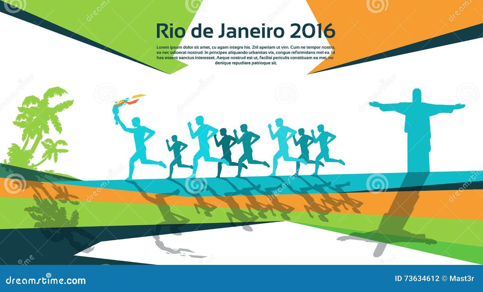 Działająca atlety grupa Z Pożarniczym pochodni Rio sporta rywalizaci pojęciem