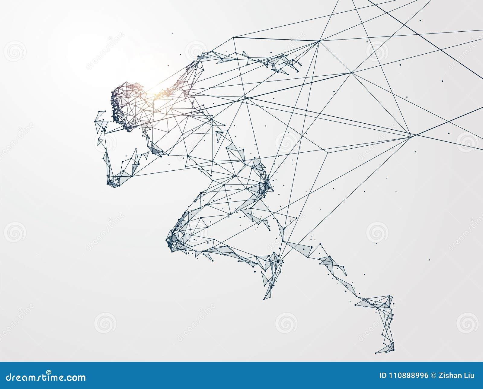 Działający mężczyzna, sieć związek obracający w
